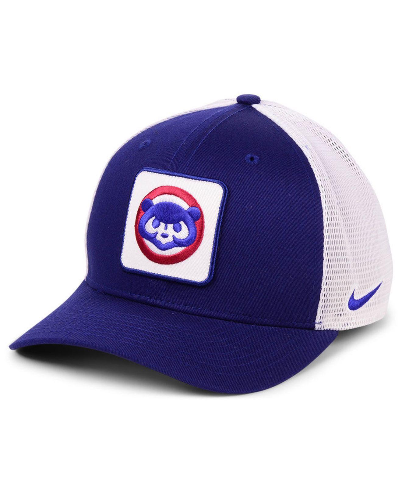 cheap for discount f48f8 ce3b8 Nike. Men s Blue Chicago Cubs Trucker Swooshflex Stretch Fitted Cap
