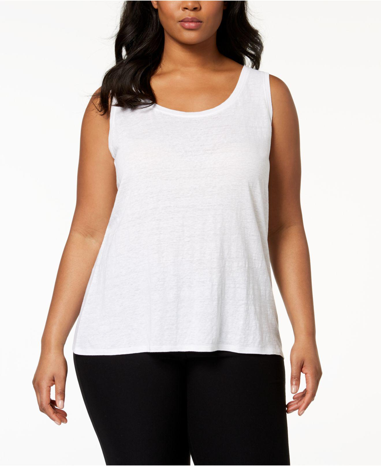 dd817964c Lyst - Eileen Fisher Plus Size System Organic Linen Tank Top in White