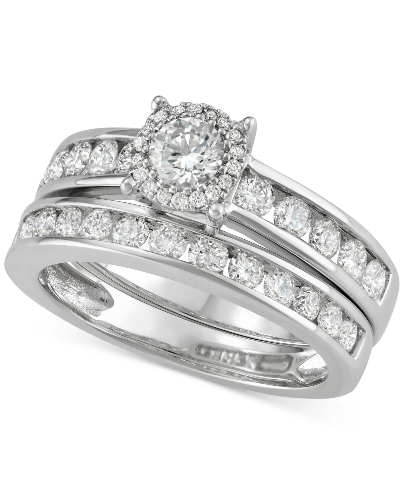 Macy s Diamond Channel set Halo Bridal Set 1 1 2 Ct T w In 14k