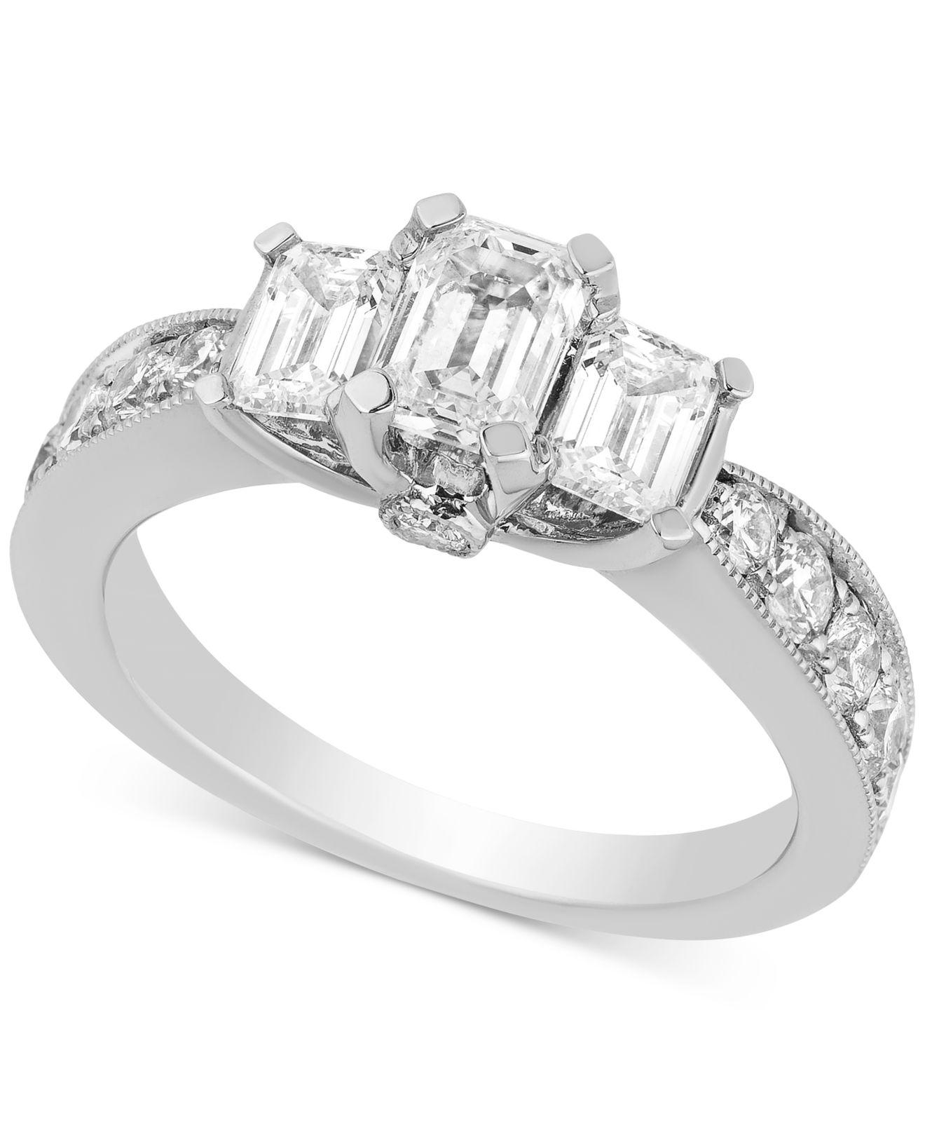 Macy's Diamond Three-stone Engagement Ring (2 Ct. T.w.) In