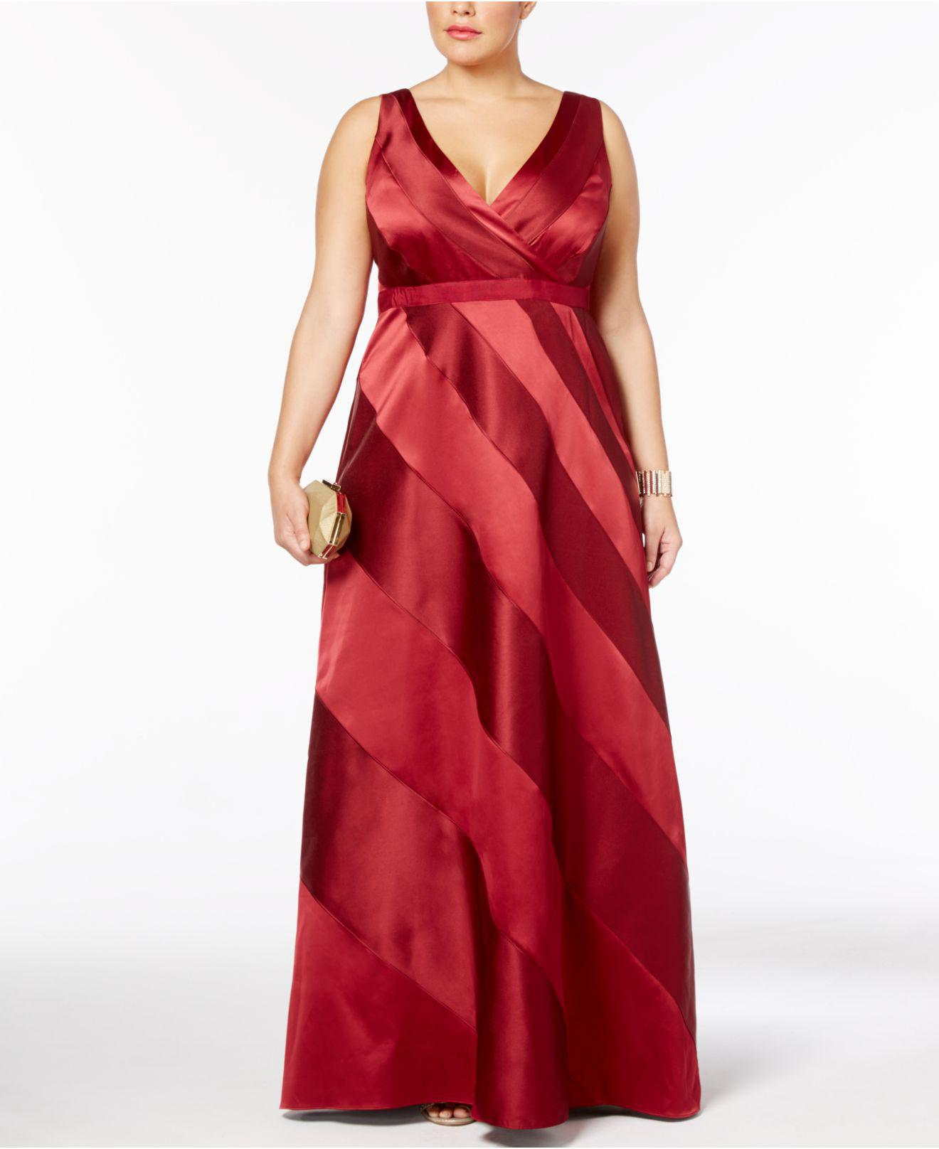 Lyst - Adrianna Papell Plus Size Satin Striped Ball Gown in Red