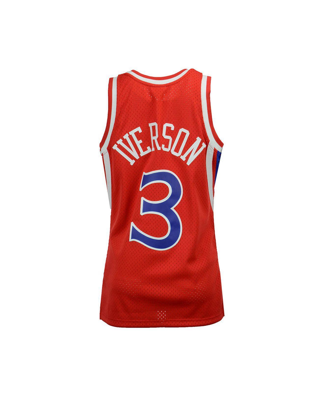 227c7778ecab Mitchell   Ness. Men s Red Allen Iverson Philadelphia 76ers Hardwood Classic  Swingman Jersey