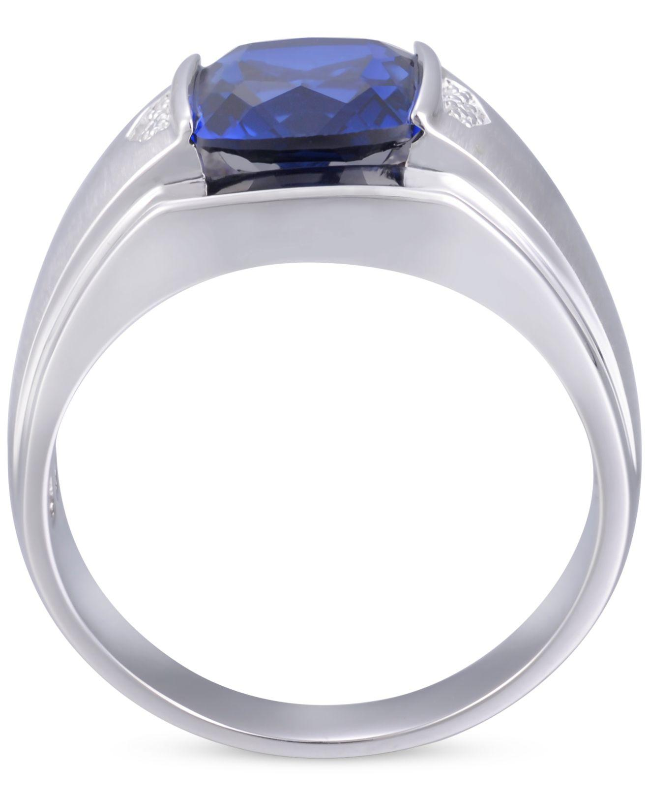 16310861a45e Macy's Men's Lab-created Blue Sapphire (5 Ct. T.w.) & Diamond Accent ...