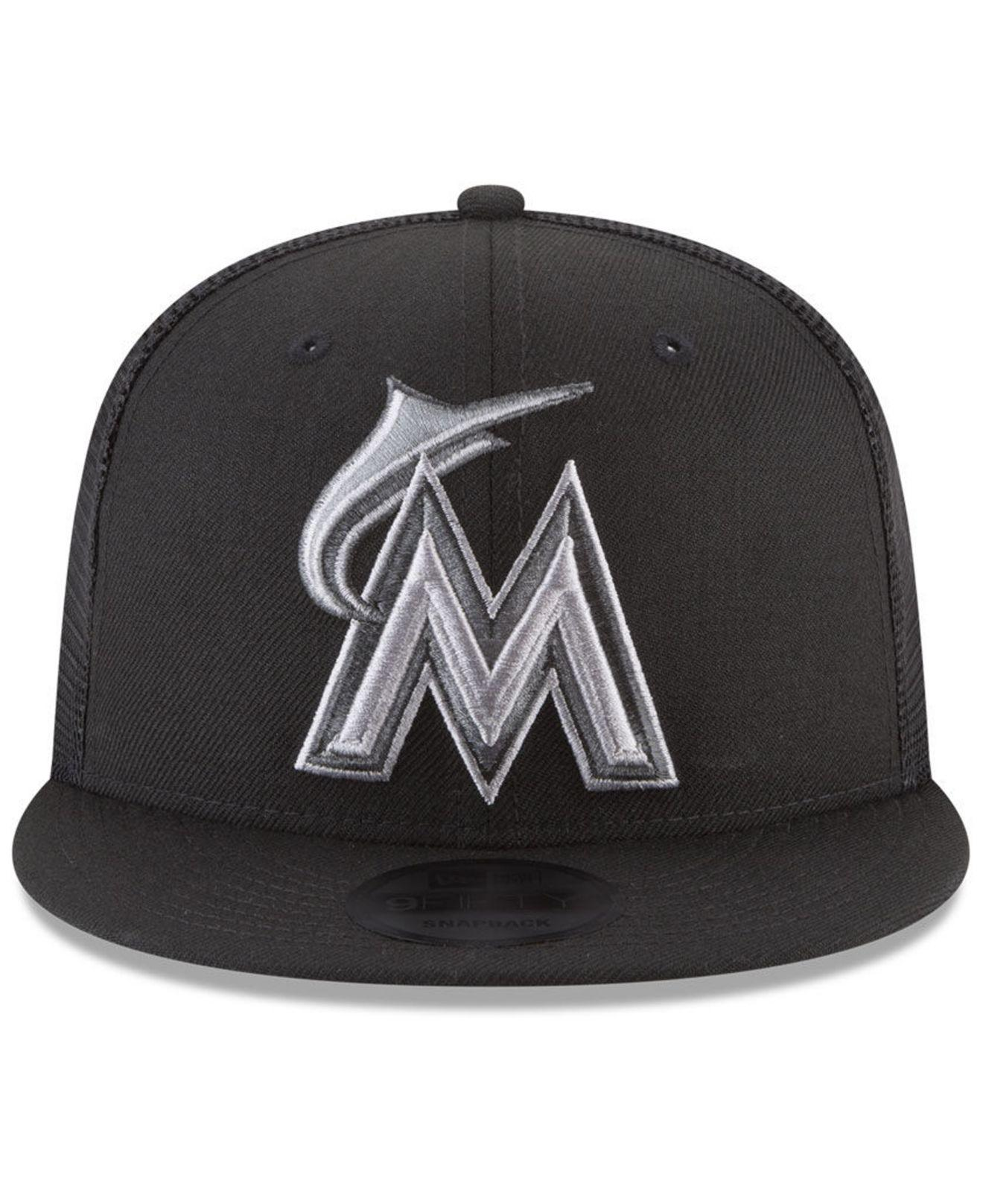 01bf6d9b047 ... italy lyst ktz miami marlins blackout mesh 9fifty snapback cap in black  for men 02176 3dea8