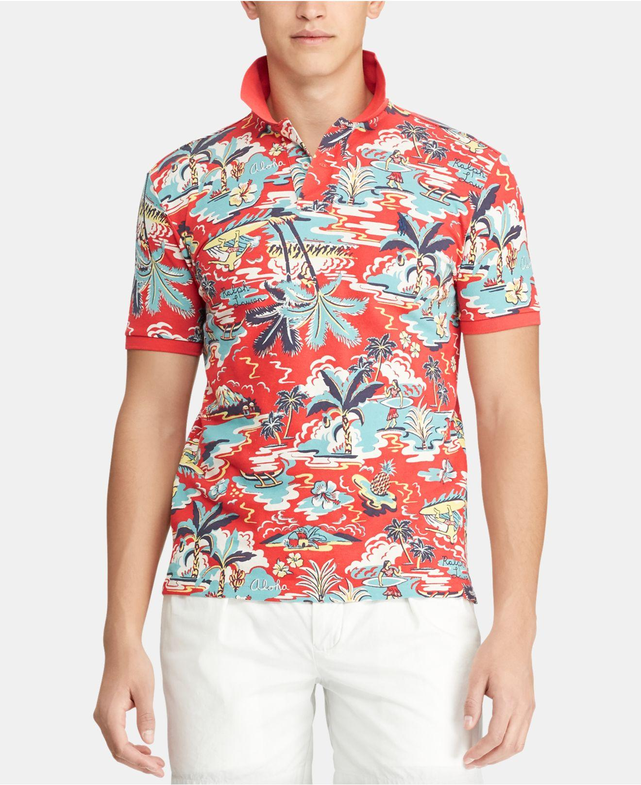 af0cac00 Polo Ralph Lauren Classic-fit Mesh Hawaiian Polo Shirt in Red for ...