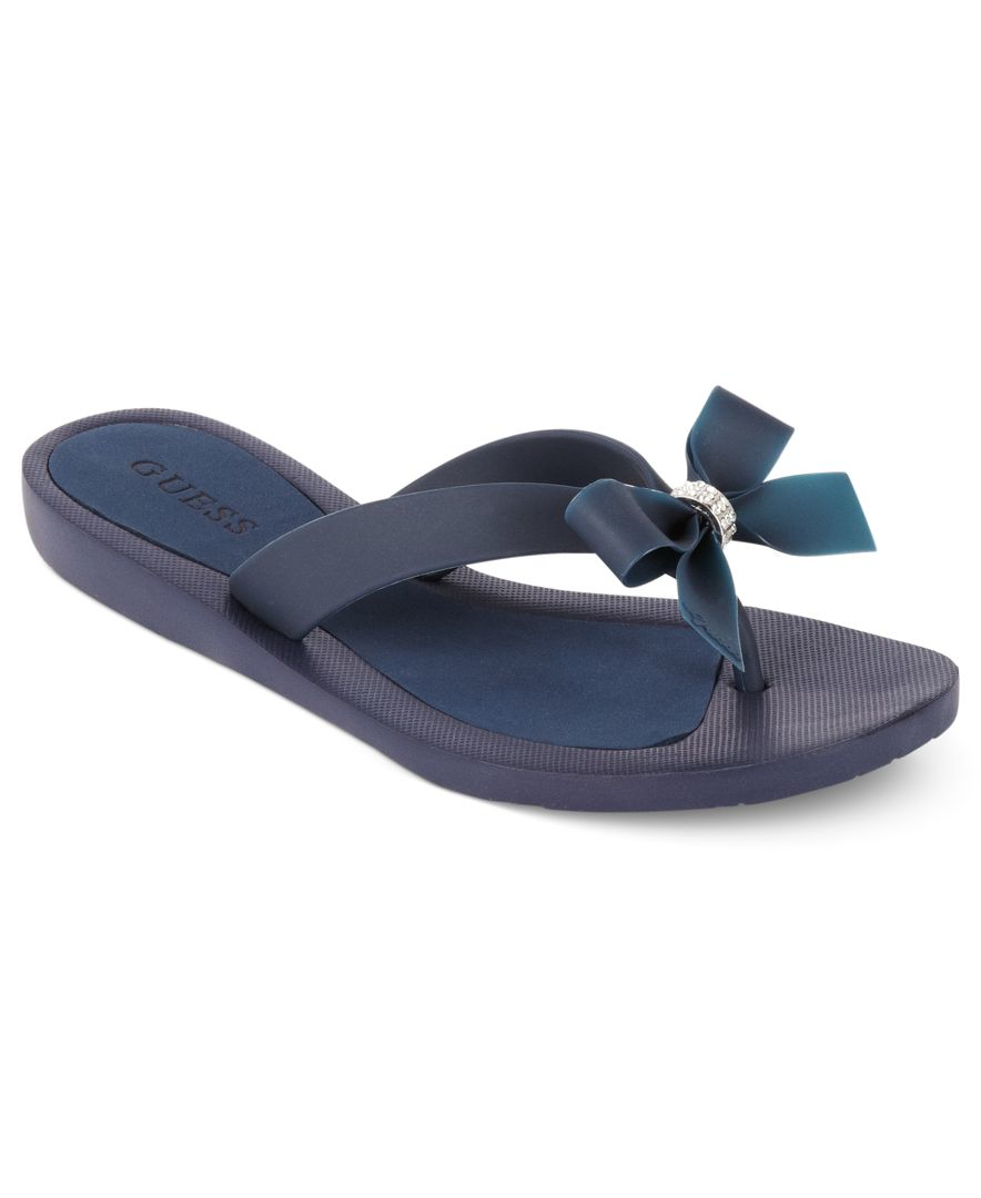 Guess Tutu Bow Flip Flops In Blue Lyst