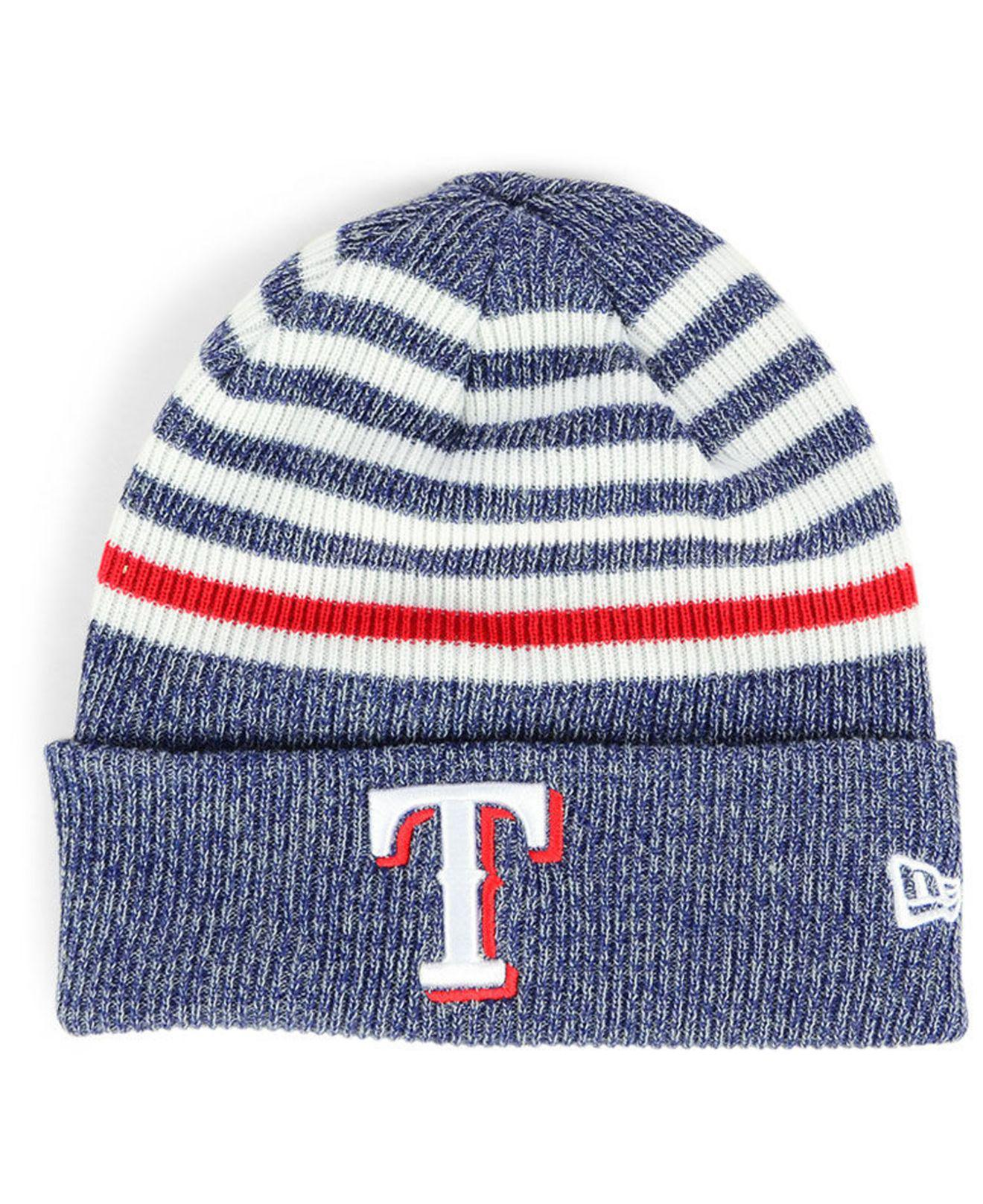 premium selection 594dd ae342 Lyst - KTZ Texas Rangers Striped Cuff Knit Hat in Blue for Men