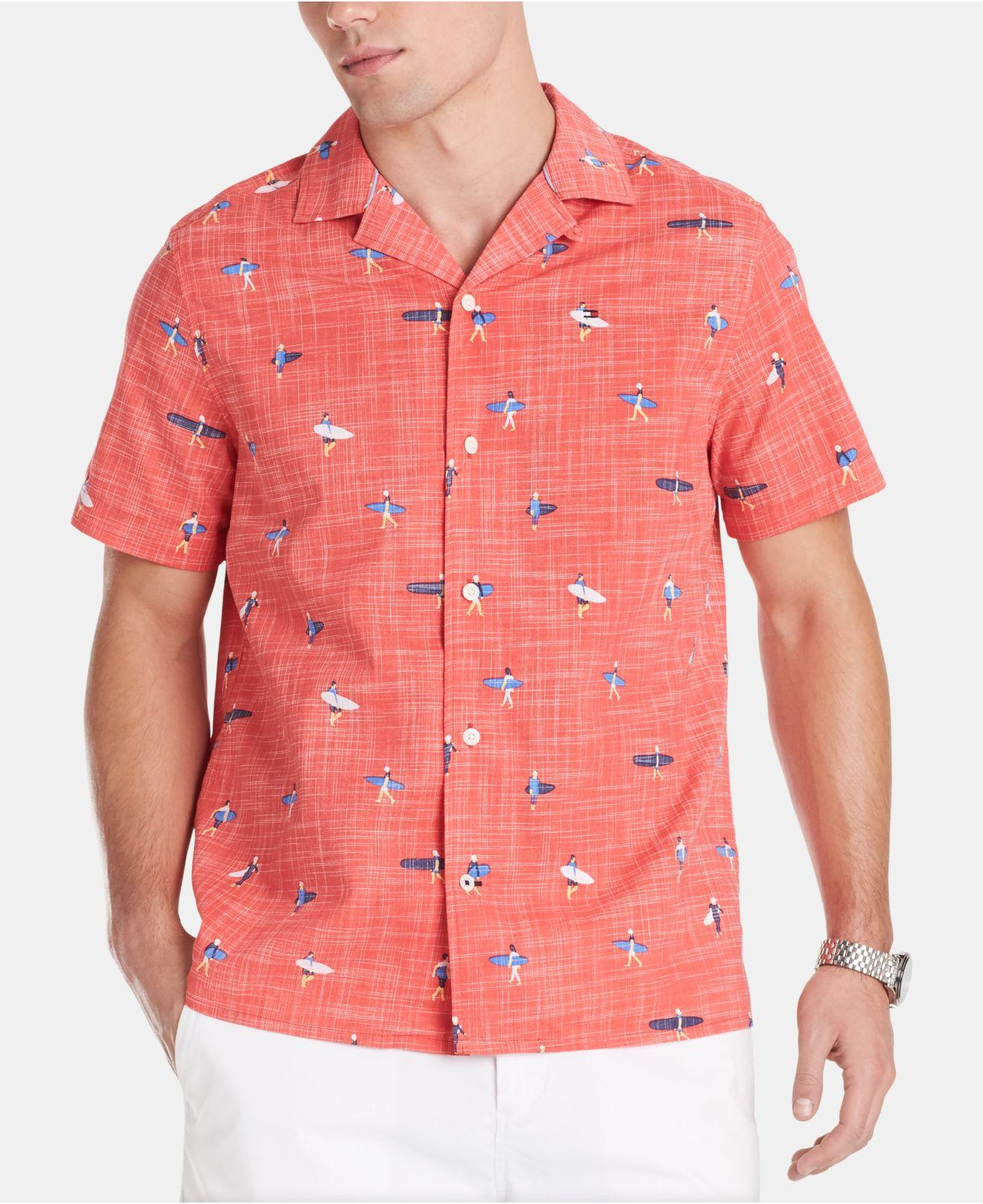 f7d464fc Tommy Hilfiger Chip Surfer Print Camp Collar Shirt in Red for Men - Lyst