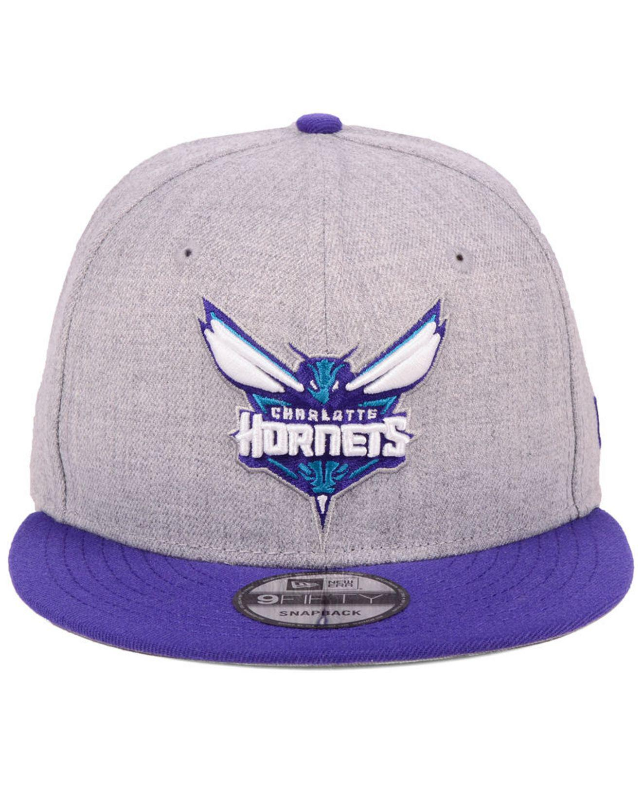 san francisco 57818 08dd0 ... promo code lyst ktz charlotte hornets heather gray 9fifty snapback cap  in purple for men 0b8ff