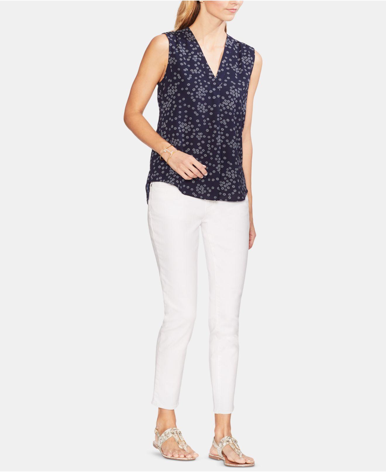 0d31923506e0ca Vince Camuto - Blue Floral-print Sleeveless Top - Lyst. View fullscreen