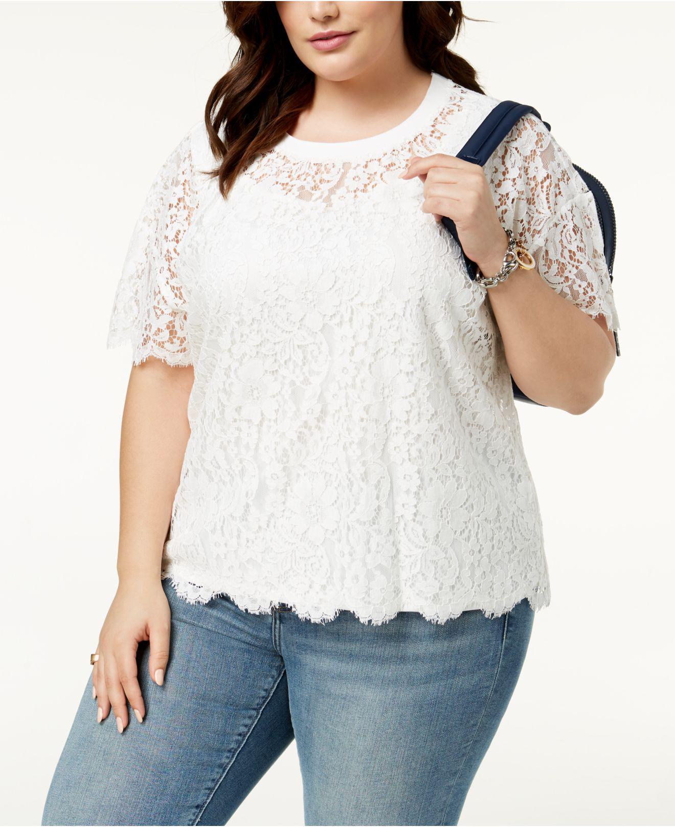 a538011005d Lyst - Tommy Hilfiger Plus Size Lace T-shirt