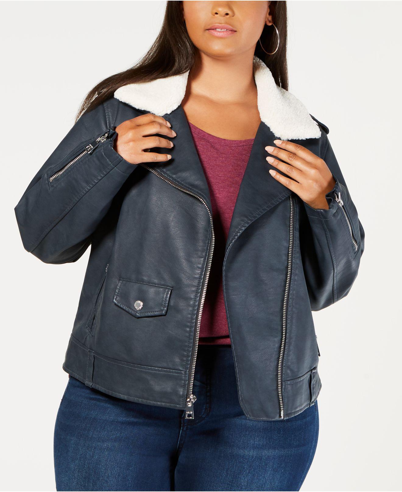 4ce1665cdfa Lyst - Levi S ® Plus Size Faux-leather Fleece-trimmed Moto Jacket in ...
