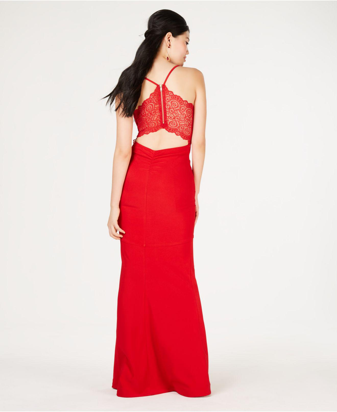 37be8fdb0 Emerald Sundae Juniors' Lace-racerback Gown in Red - Lyst