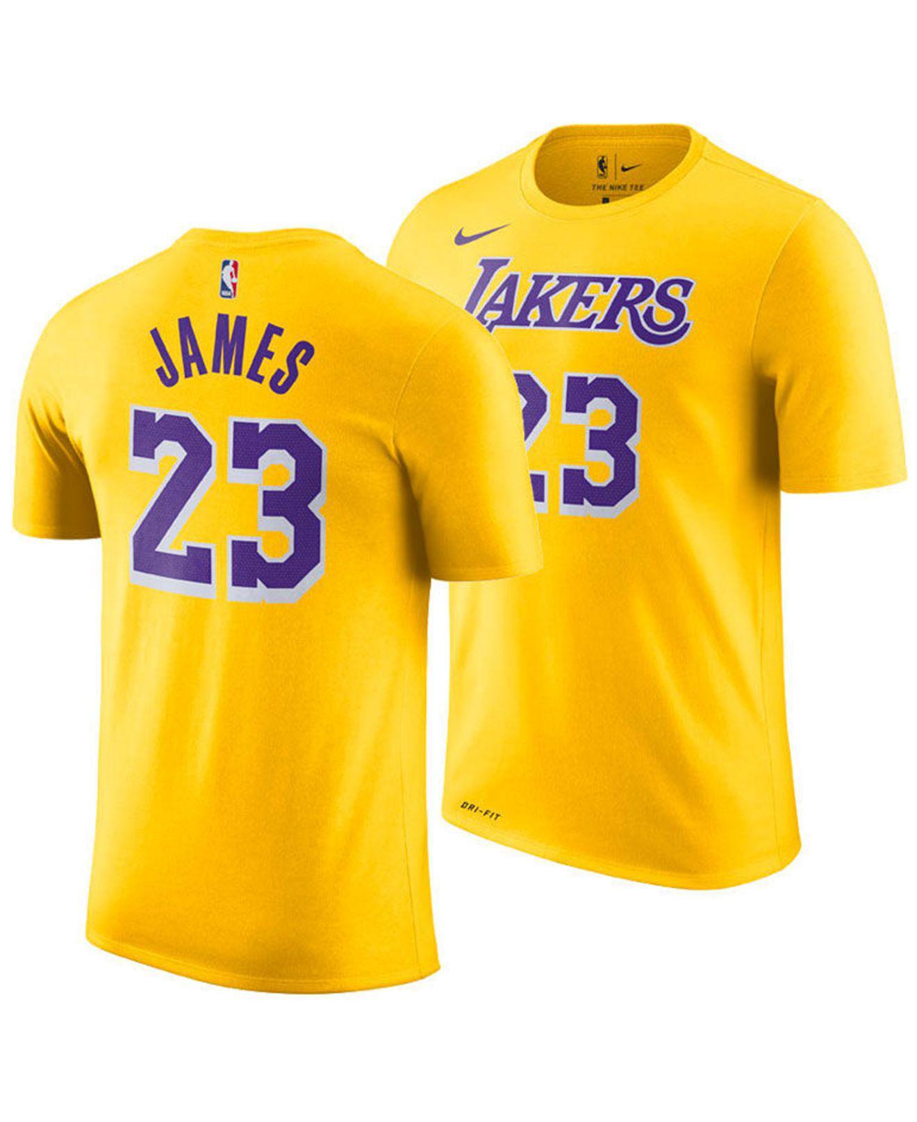 e6fc3cff Nike. Men's Yellow Lebron James Los Angeles Lakers Icon Player T-shirt