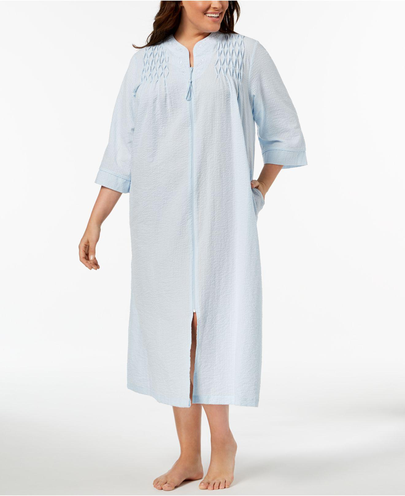 Lyst - Miss Elaine Plus Size Embroidered Seersucker Zip Robe in Blue