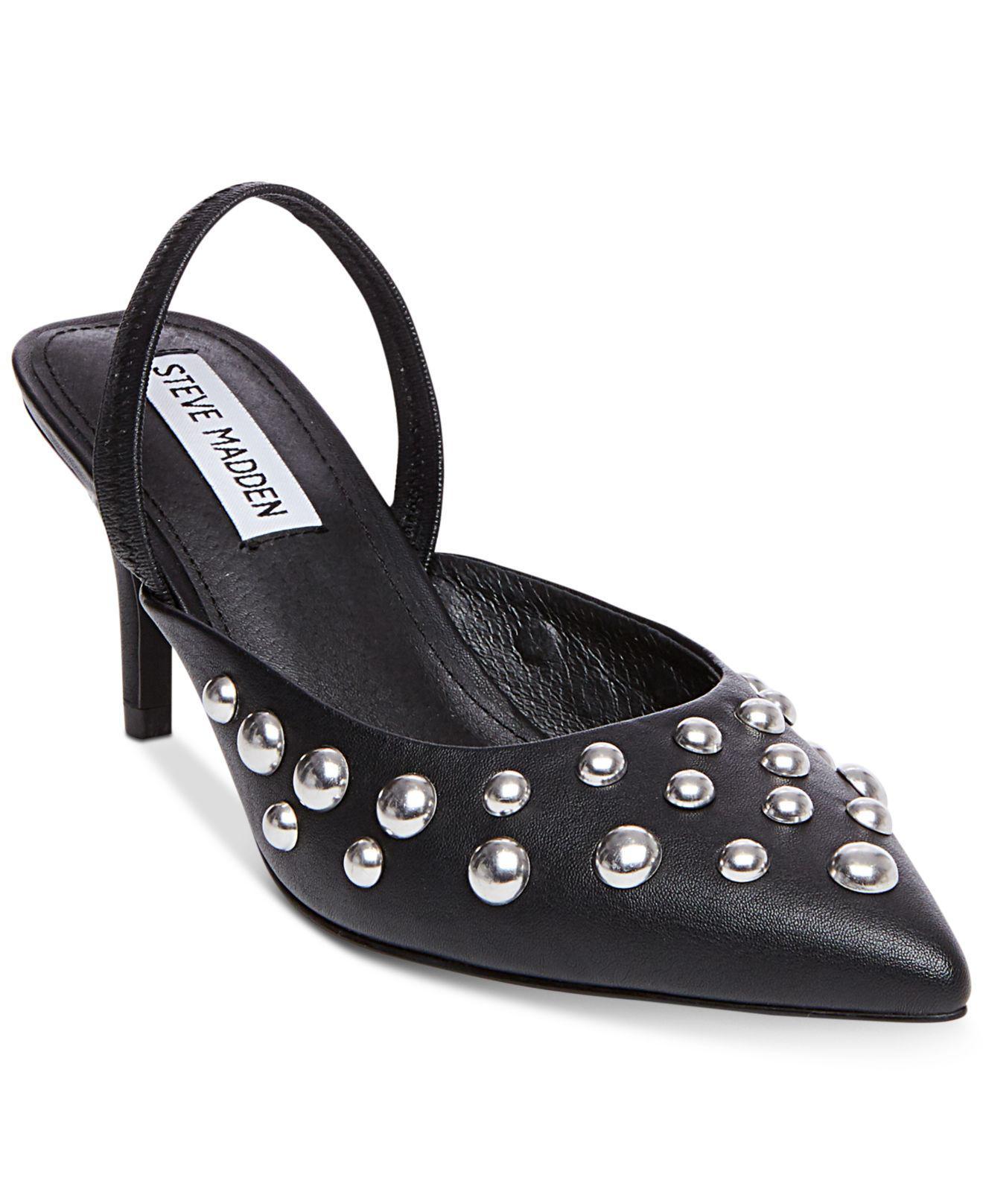 8cfbe643b1f Lyst - Steve Madden Women s Meteor Studded Kitten-heel Pumps in Black