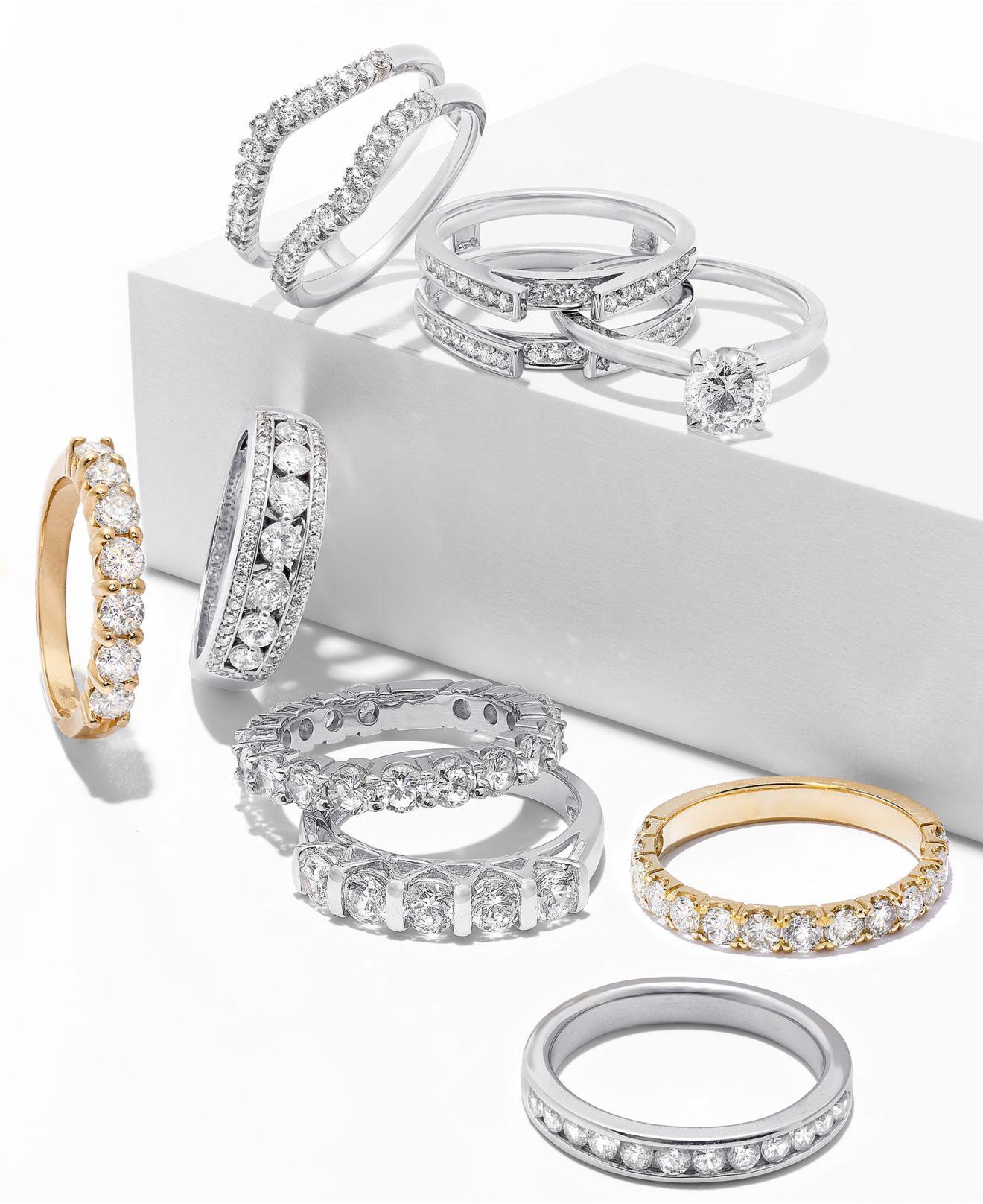 2646806003e6 Lyst - Macy s Diamond Band Ring (1 Ct. T.w.) In 14k White Gold in Metallic