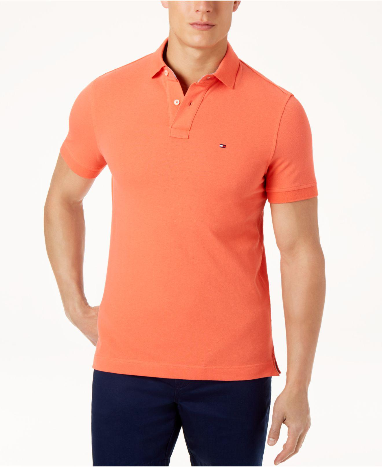 ea264ed65 Lyst - Tommy Hilfiger Custom-fit Ivy Polo in Orange for Men - Save 51%