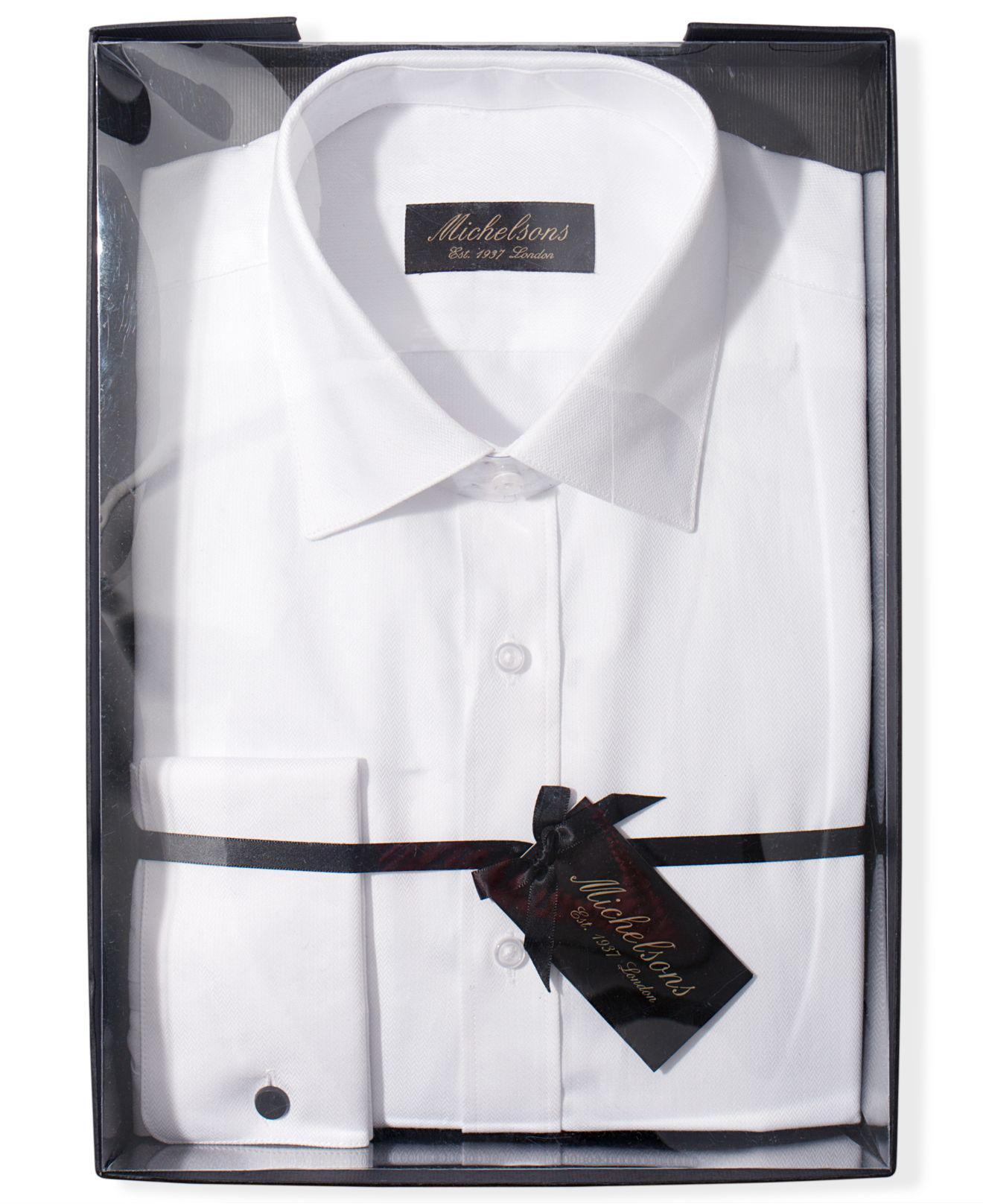 Calvin Klein White Slim Fit French Cuff Tuxedo Shirt Joe Maloy
