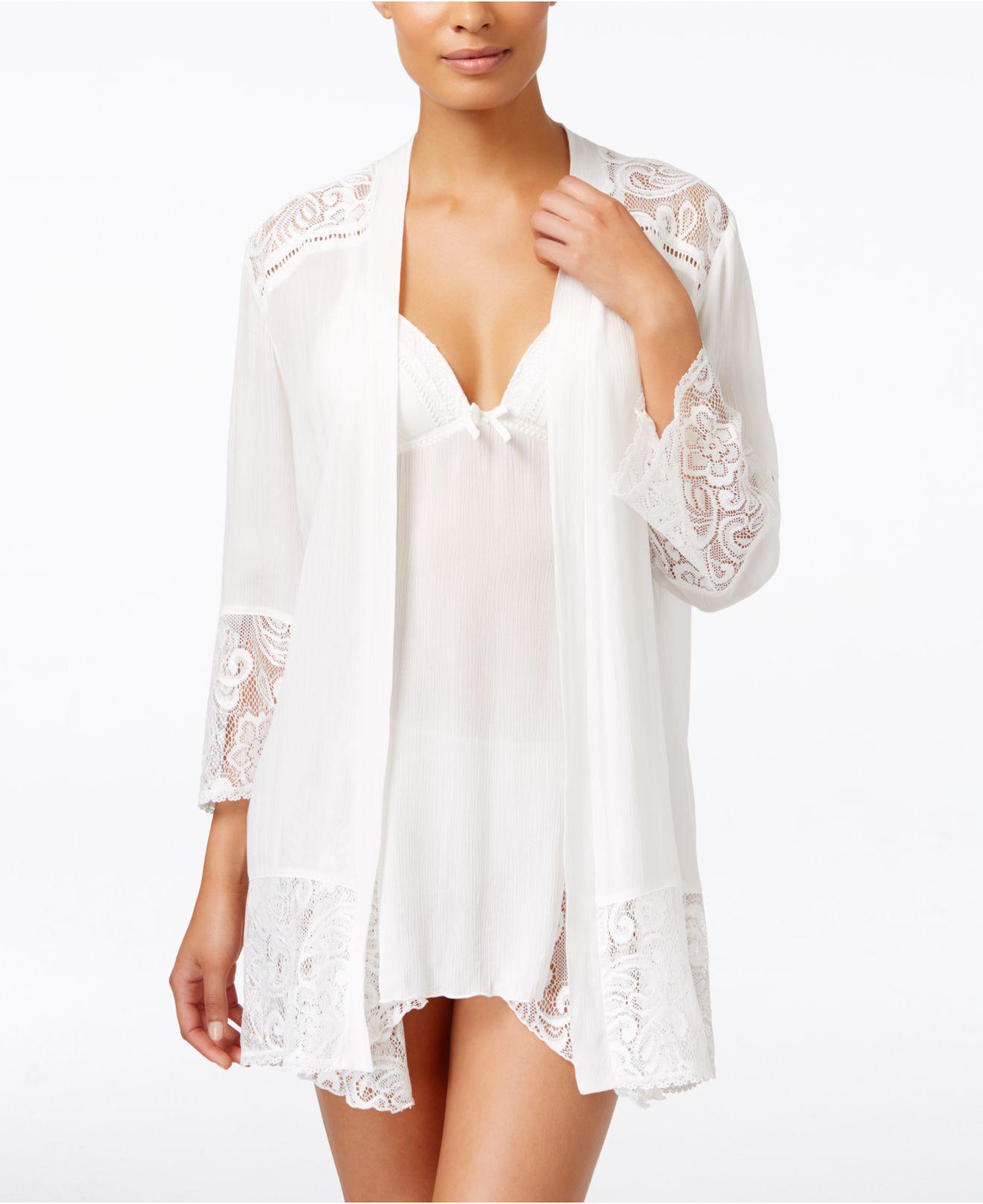 703d37fb86 Lyst - Linea Donatella Flower Child Sheer Lace-trim Kimono Robe in White