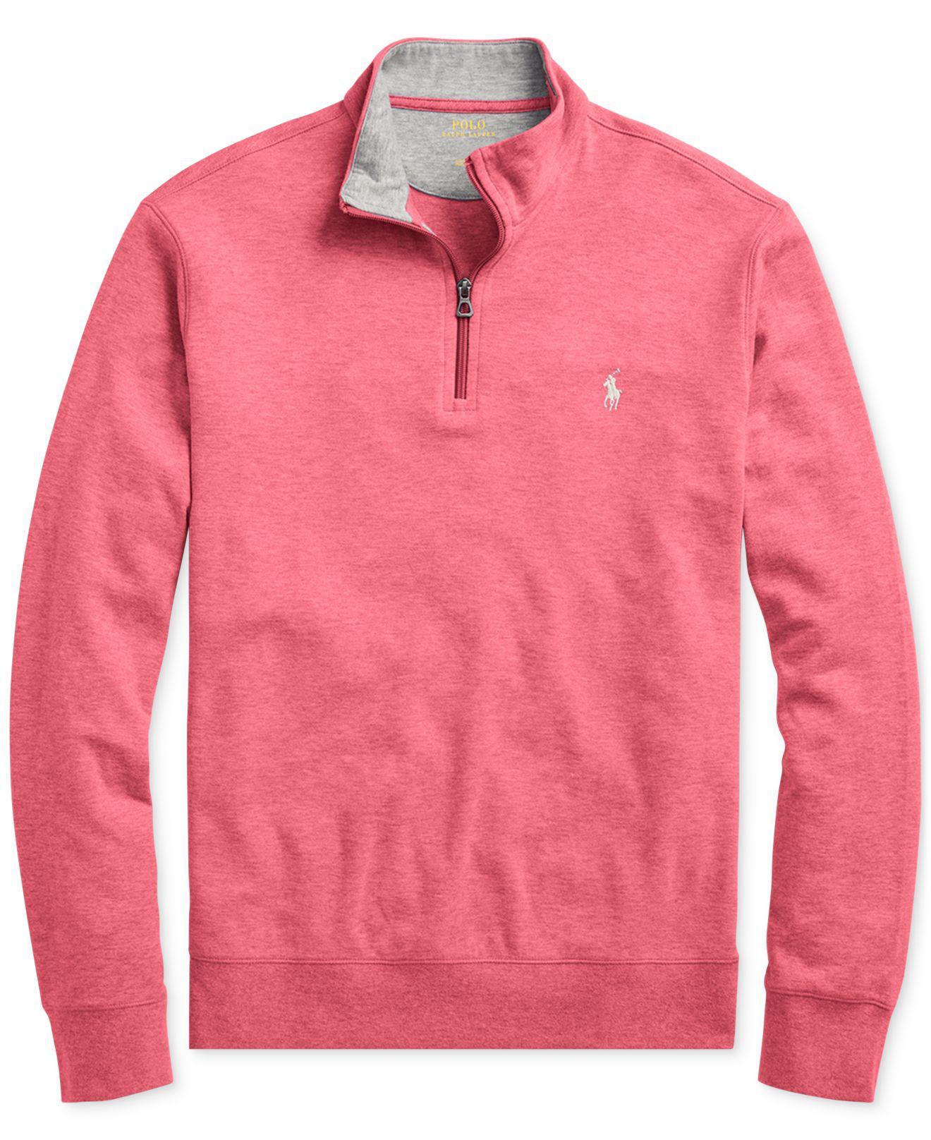 Polo Ralph Lauren - Pink Men\u0027s Jersey Half-zip Pullover Shirt for Men -  Lyst. View fullscreen