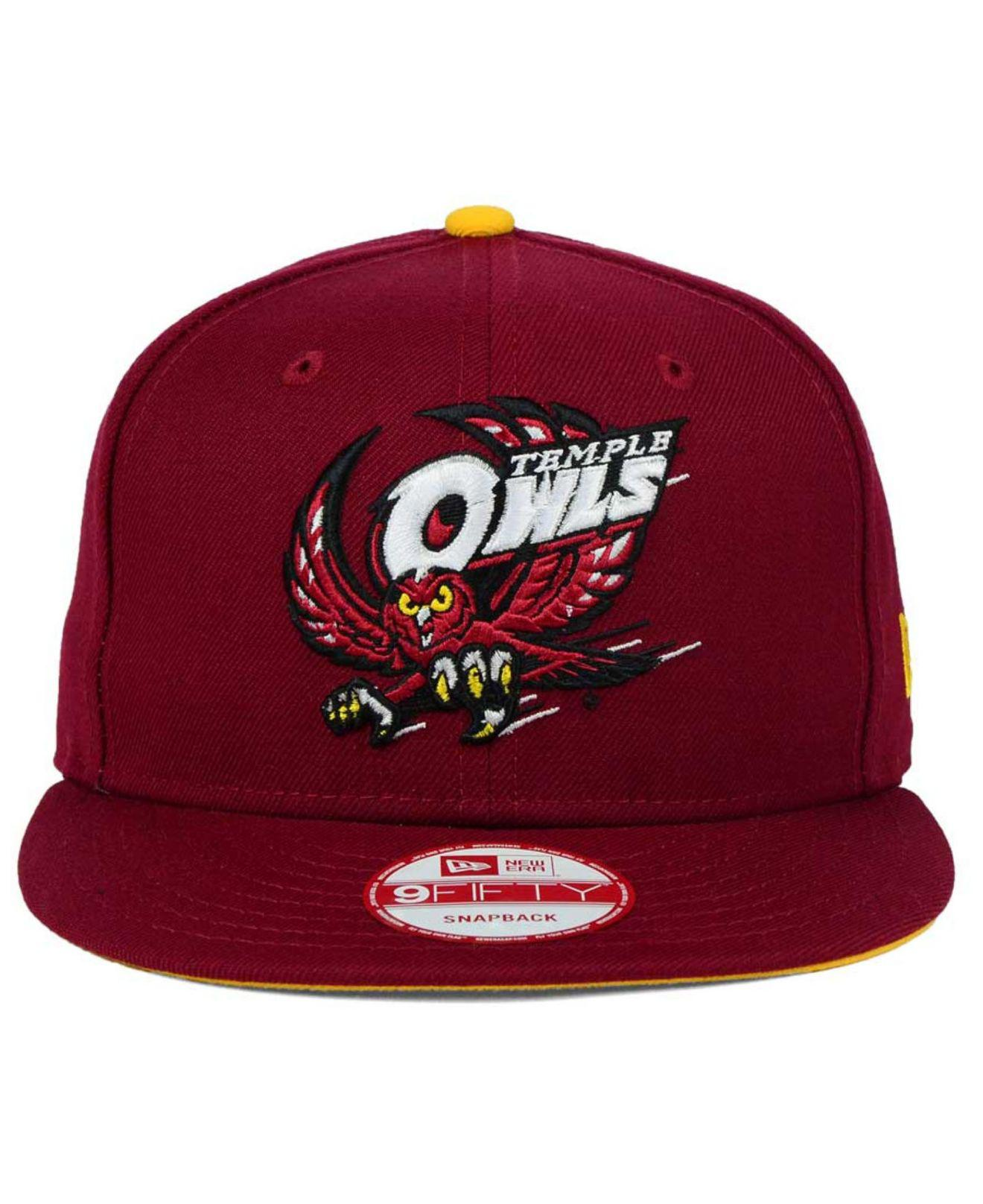 info for 6c8ba 66773 ... hat 5d5af 7b47b  low price lyst ktz temple owls core 9fifty snapback cap  in red for men 79217 87e1c