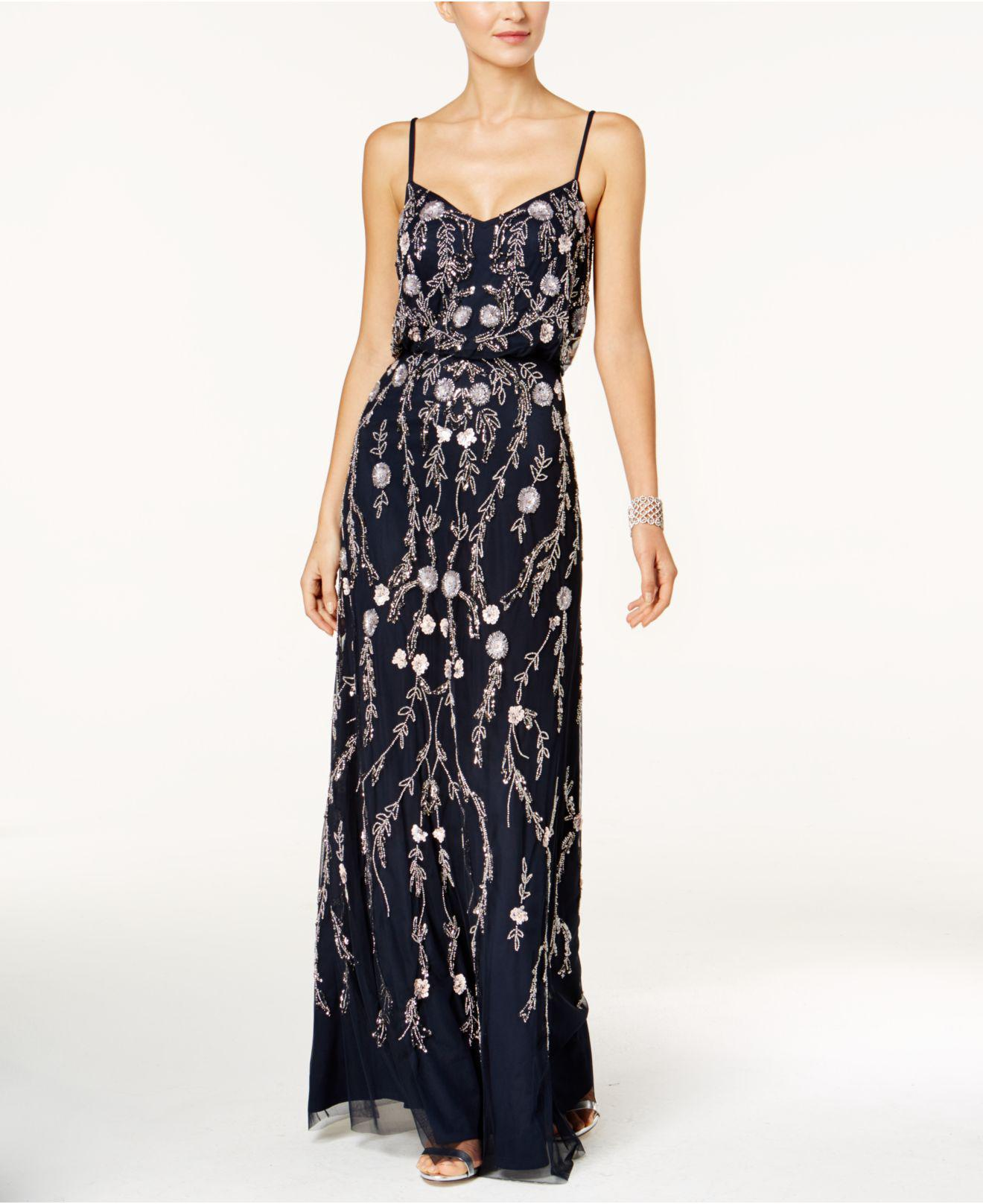 Lyst - Adrianna Papell Floral Beaded Blouson Gown in Blue - Save 56.0%