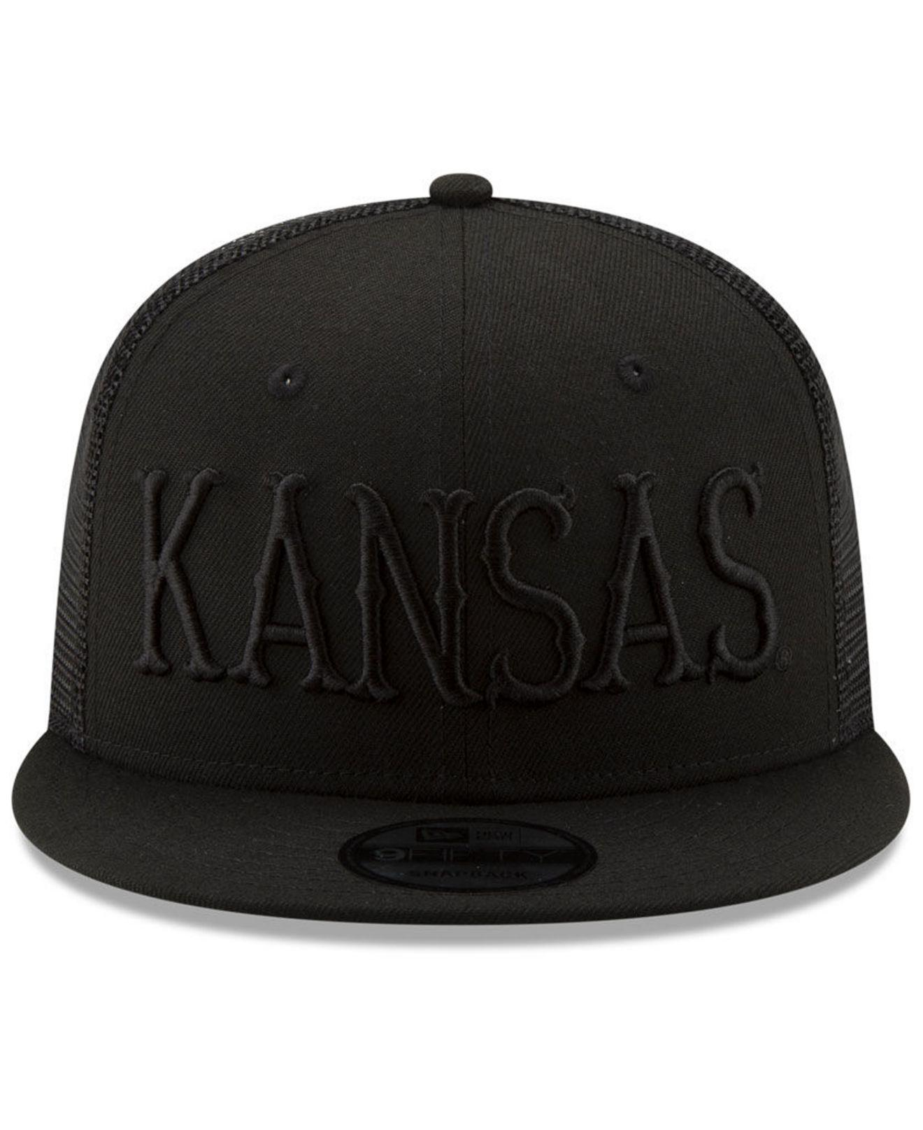 e5960b7dafd Lyst - KTZ Kansas Jayhawks Black On Black Meshback Snapback Cap in Black  for Men