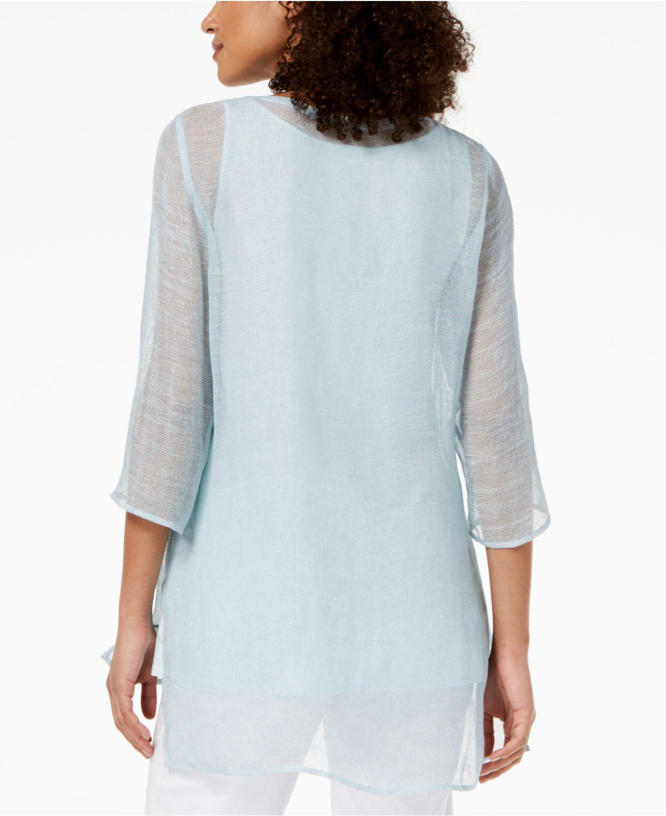e0bd3e78c64 Eileen Fisher Organic Linen Mesh Boat-neck Tunic, Regular & Petite ...