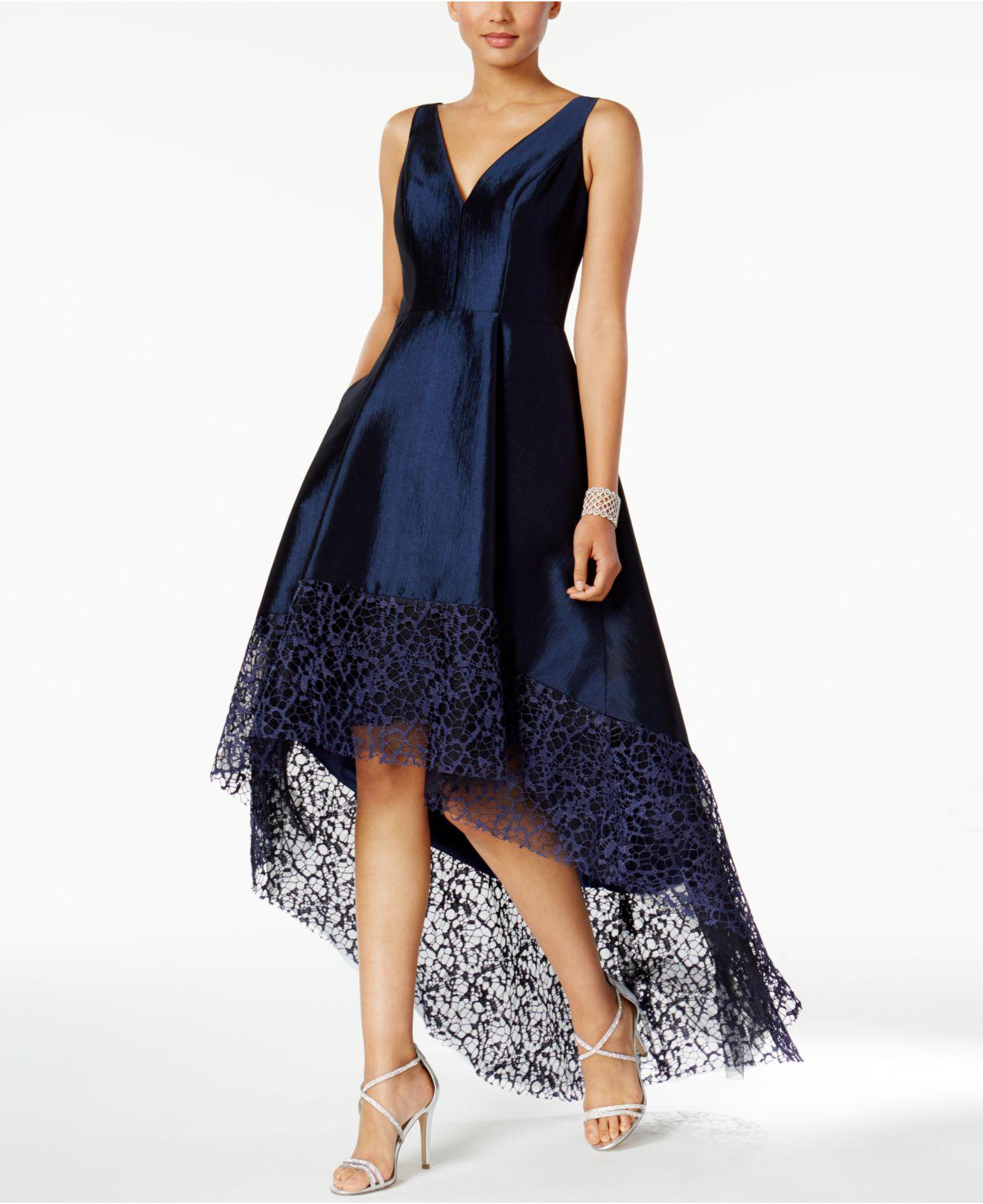 cb1984353934b Betsy & Adam Lace-trim High-low Gown in Blue - Lyst