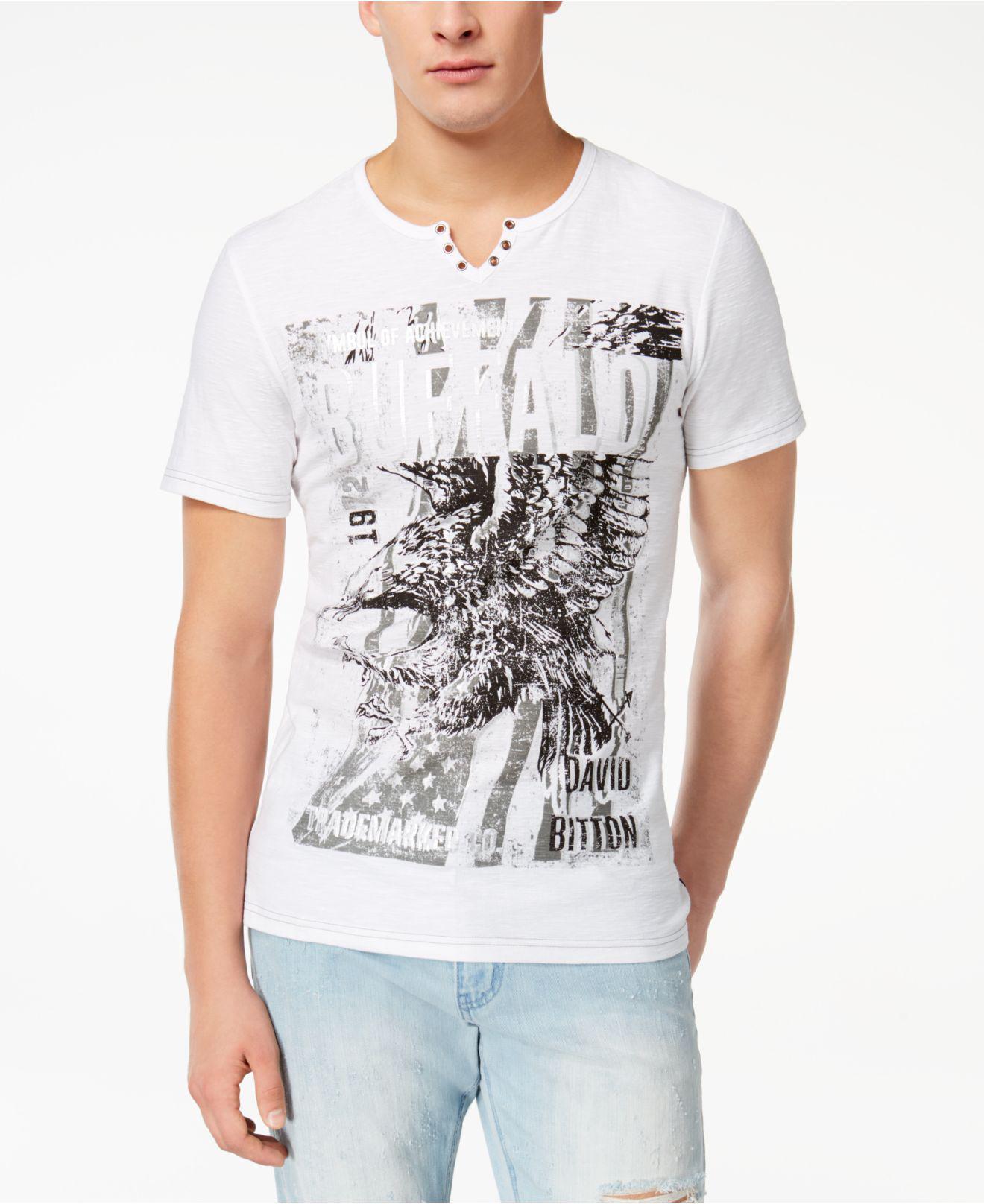 5a52c27e6b Lyst - Buffalo David Bitton Men s Split-neck Graphic-print T-shirt ...