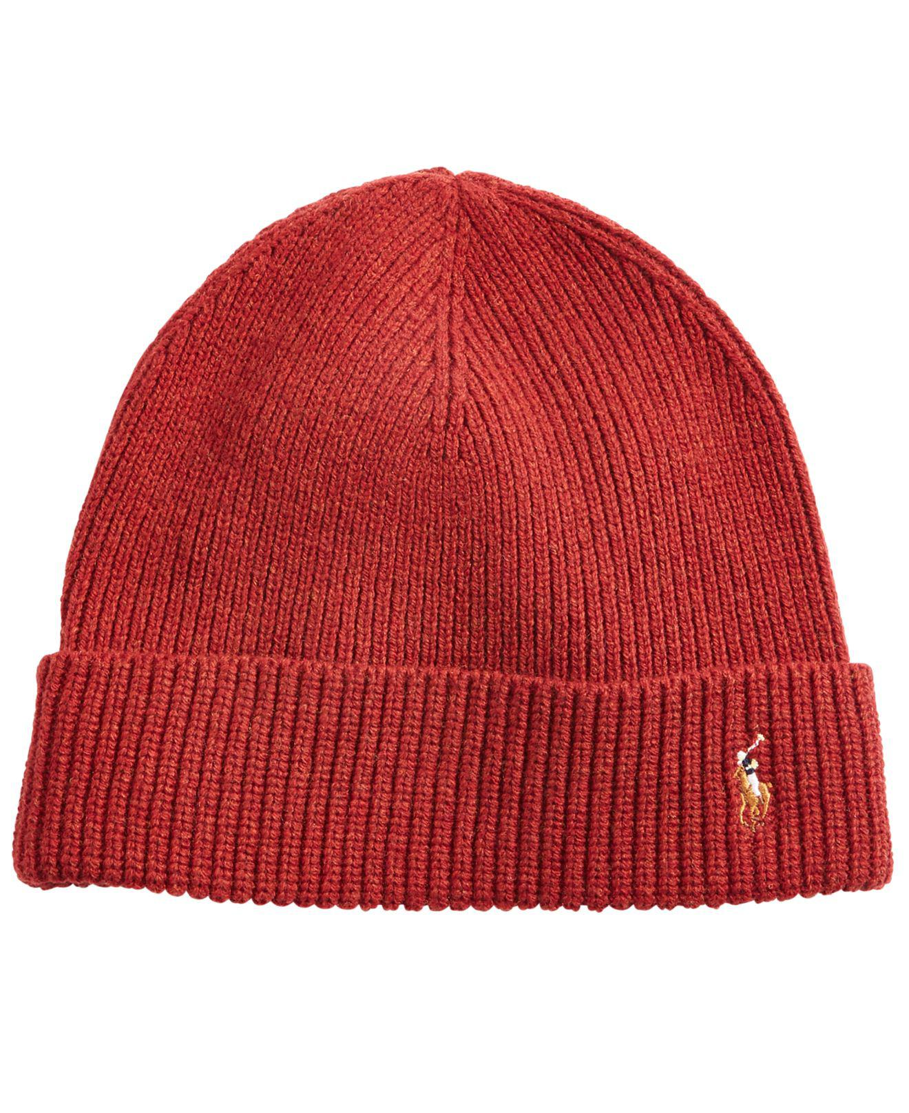 853f5bdb Polo Ralph Lauren Signature Merino Cuffed Beanie in Red for Men - Lyst