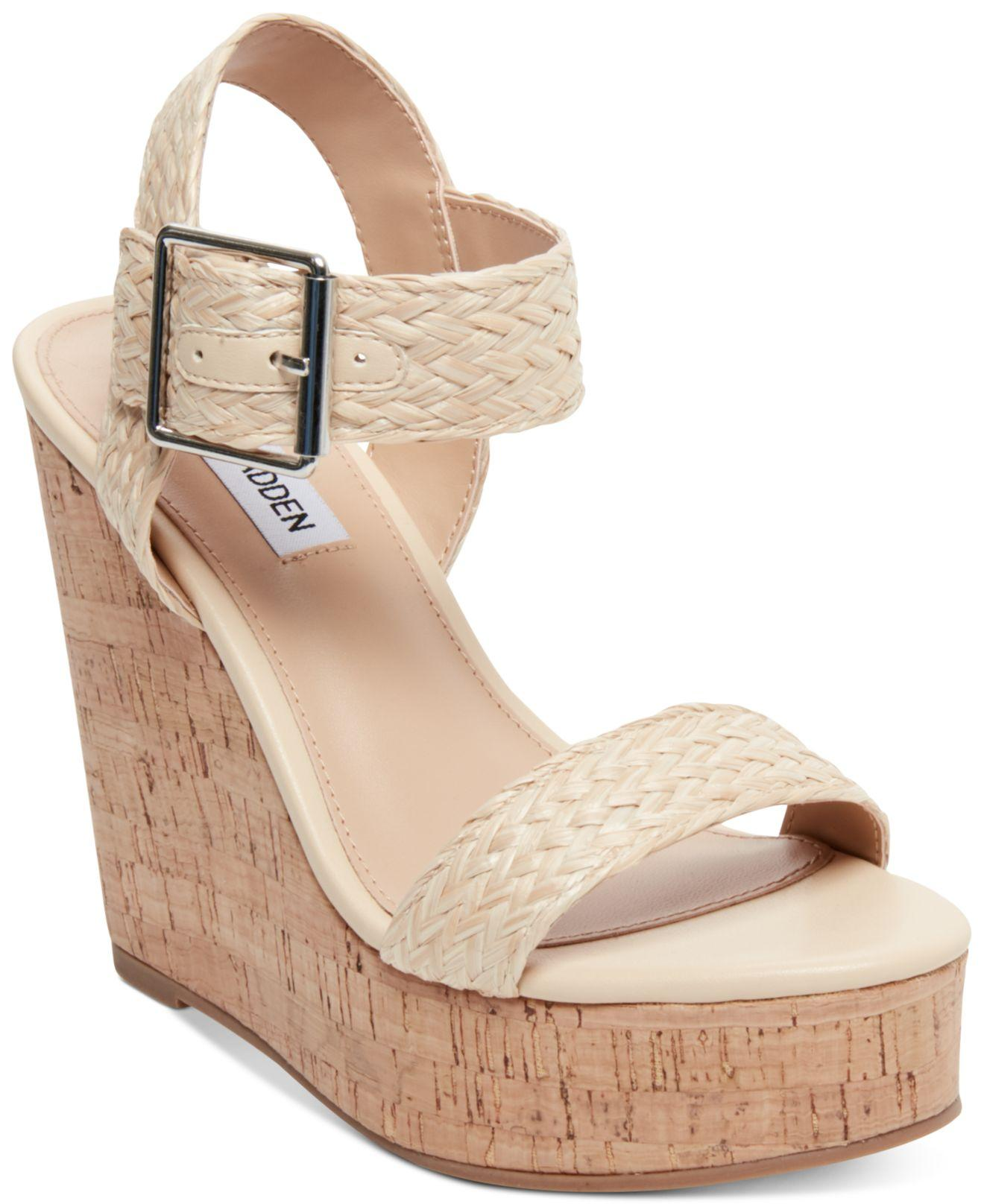 5538cd96769 Lyst - Steve Madden Splash Platform Wedge Sandals in Natural
