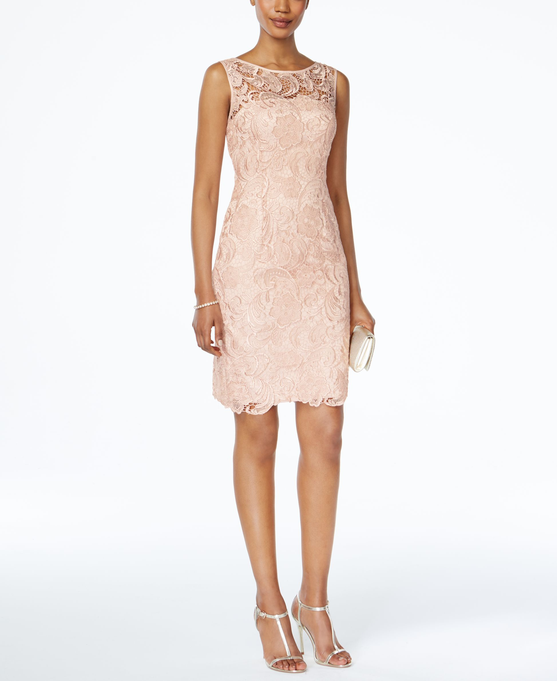 Adrianna Papell Lace Sheath Dress In Pink Lyst