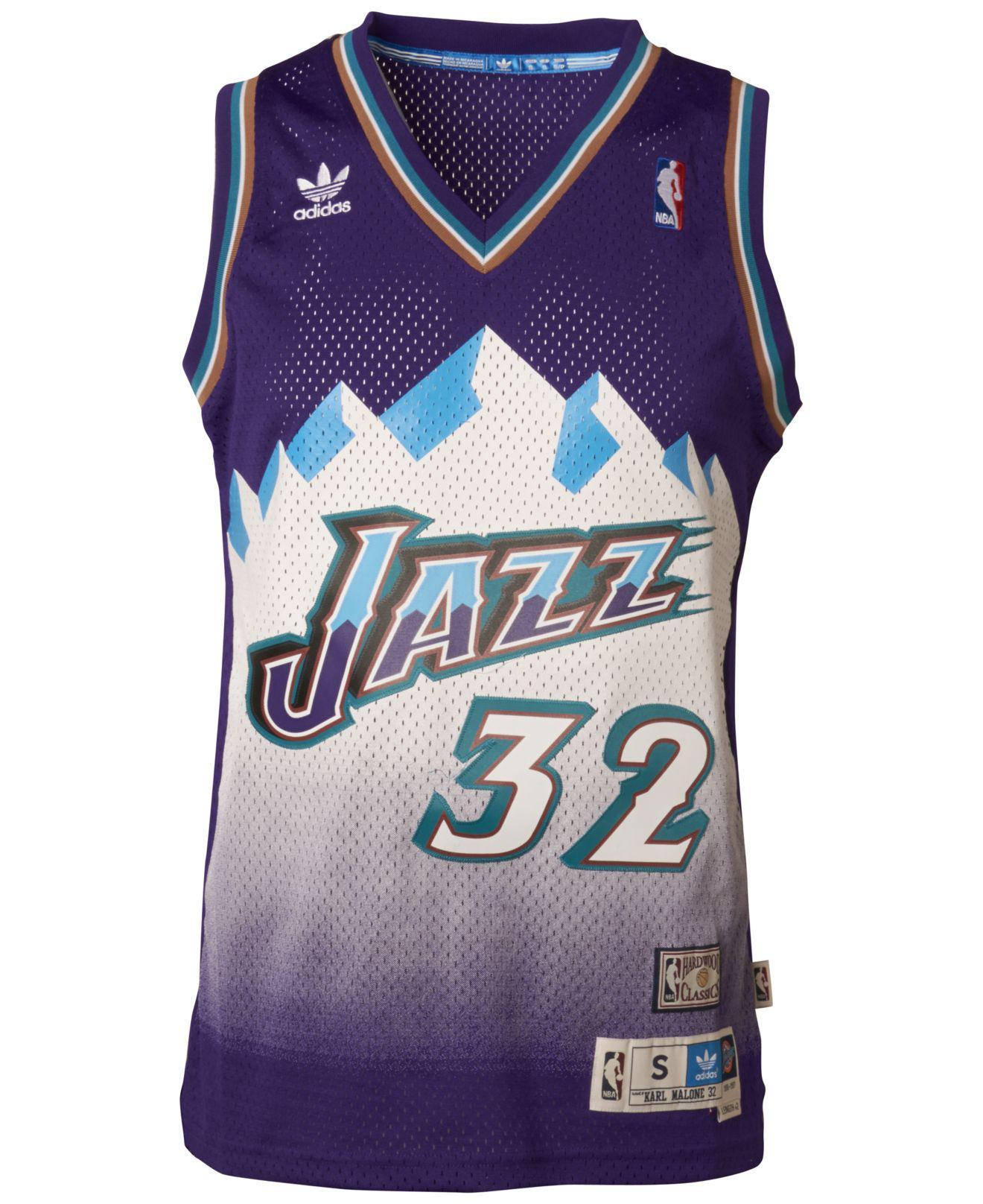 fd530dc33 Lyst - adidas Men s Karl Malone Utah Jazz Swingman Jersey in Purple for Men