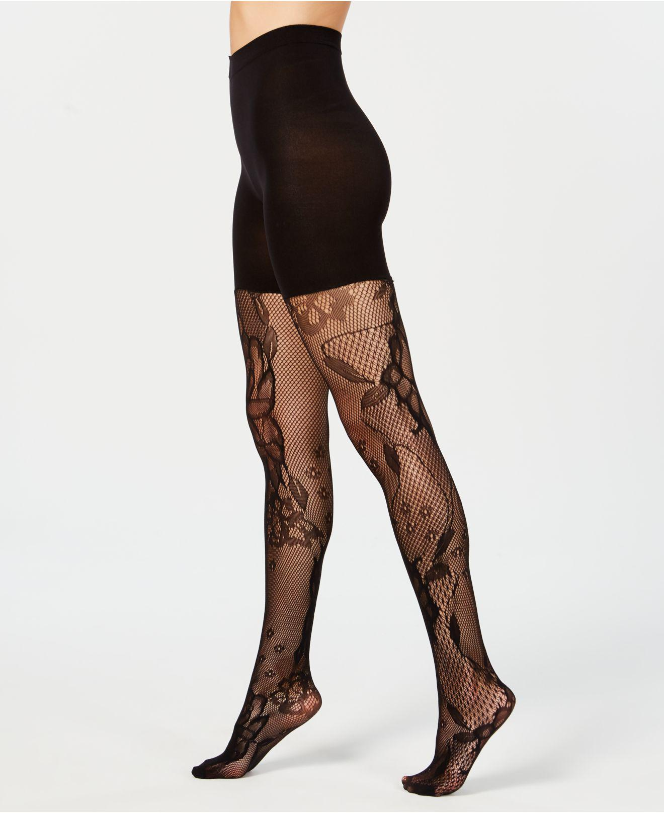 c420fbfb97b17 Spanx ® Fishnet Floral Mid-thigh Shaping Tights in Black - Lyst