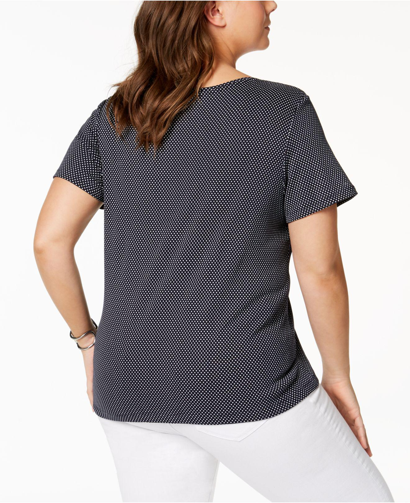 6bce49d33 Lyst - Tommy Hilfiger Plus Size Polka Dot Cotton V-neck T-shirt, Created  For Macy's