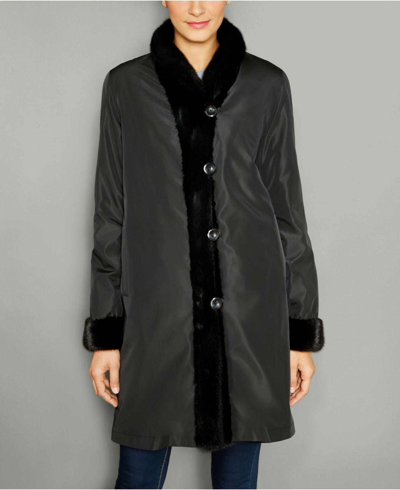 5e9b62ea8df9 Lyst - The Fur Vault Mink-fur Reversible Coat in Black