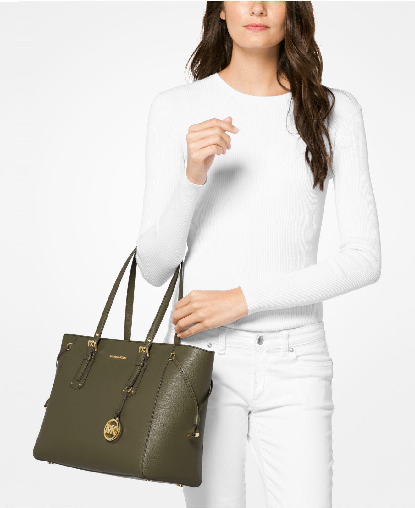 ca6f040ced05 Michael Kors Voyager Medium Crossgrain Leather Tote Bag in Green - Save 4%  - Lyst