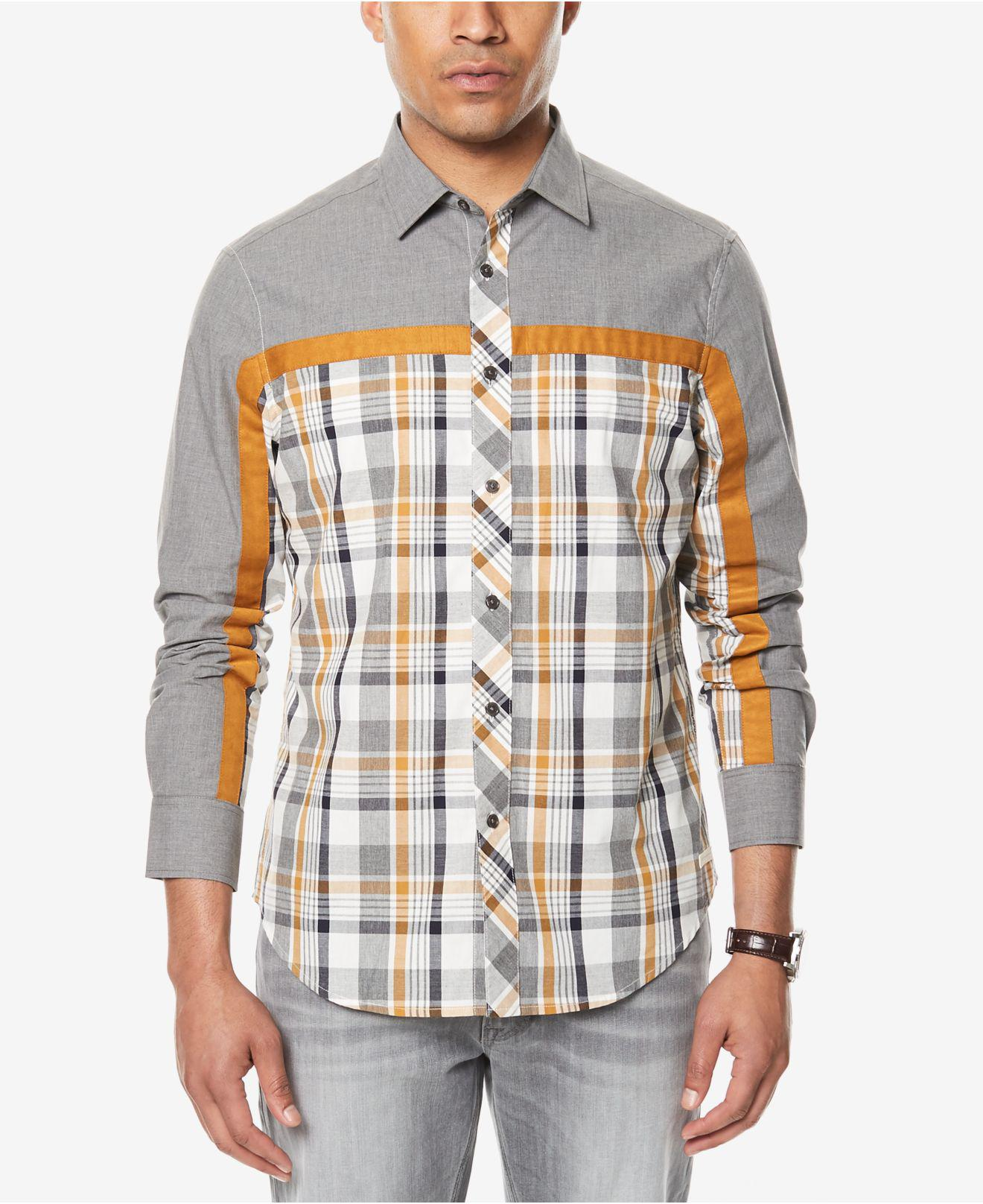 a5774ccc Lyst - Sean John Men's Melange Colorblocked Shirt in Gray for Men