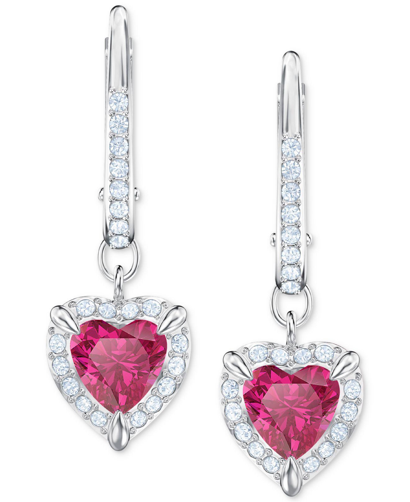 89d57affc Lyst Swarovski Heart Crystal Drop Earrings In Red