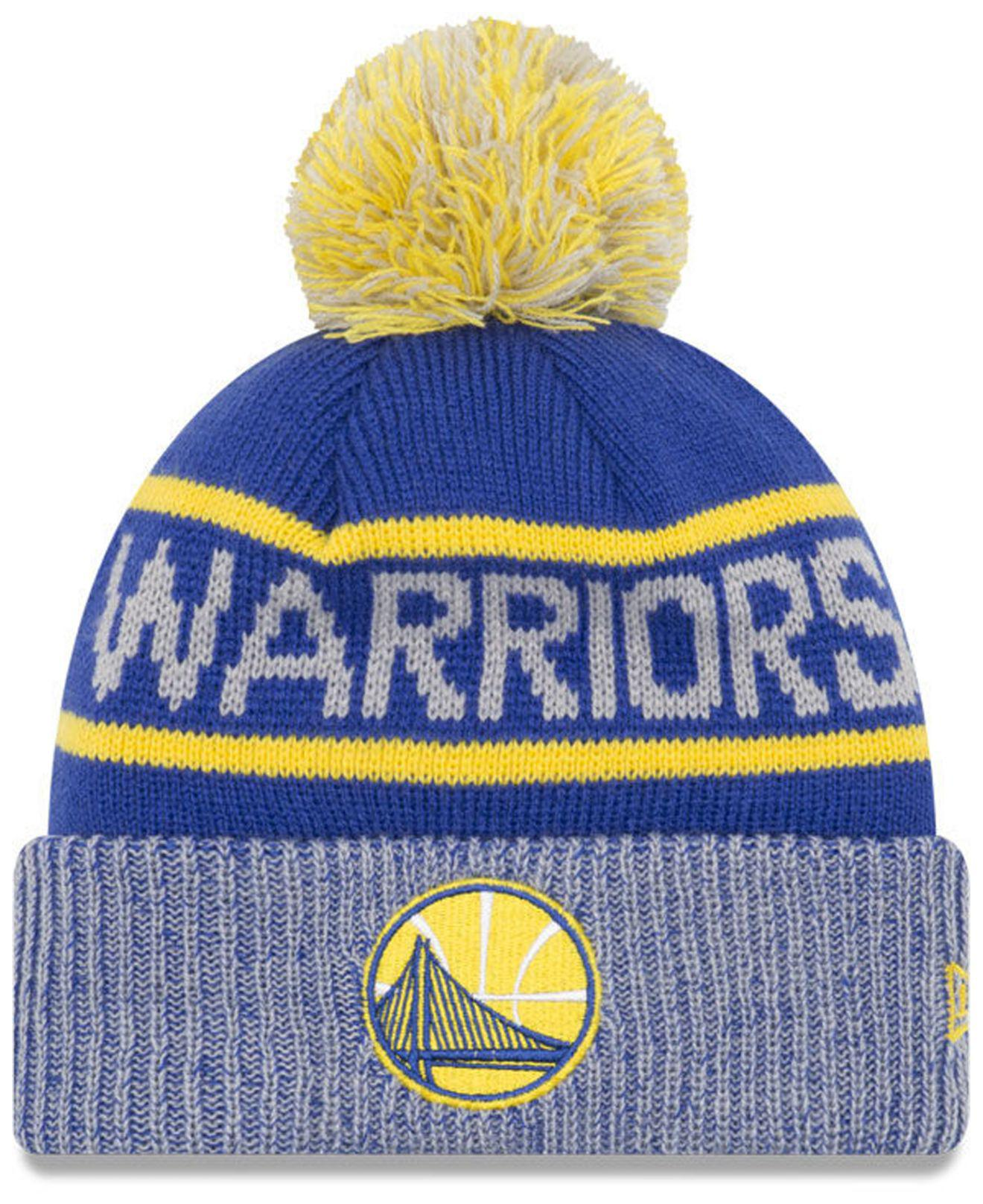 42c0c9ecca7c4 ... where to buy ktz. mens blue golden state warriors court force pom knit  hat 693d7