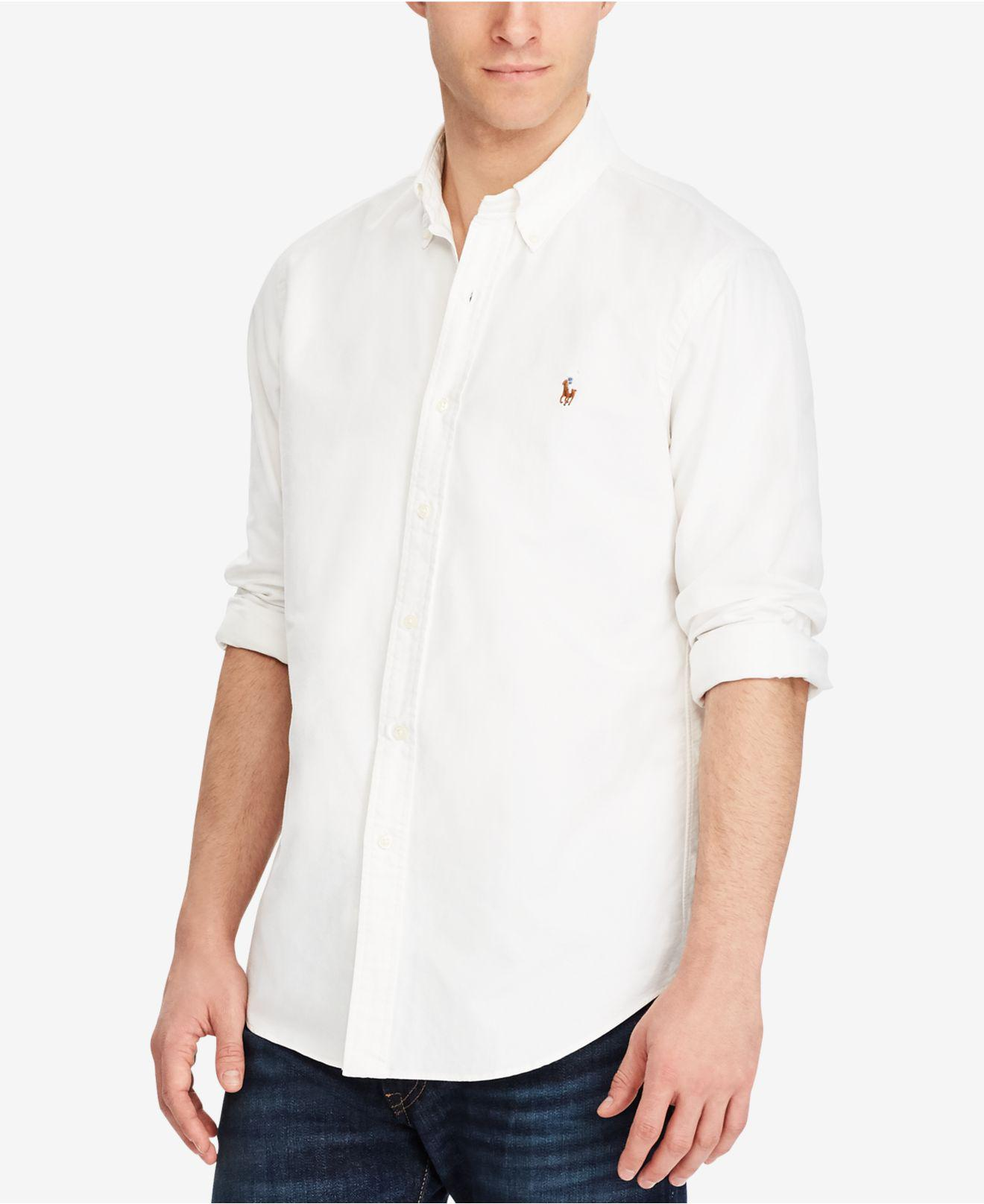 3a8a43ba7 Lyst - Polo Ralph Lauren Solid Oxford Shirt in White for Men