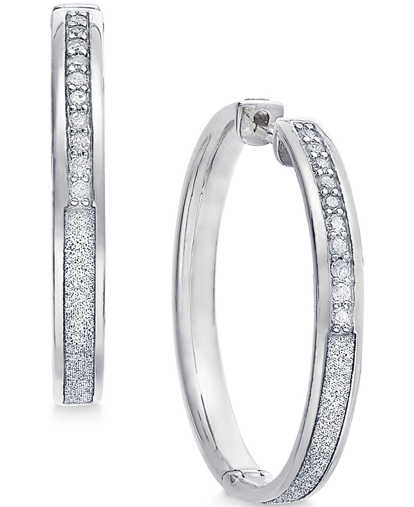 ca27af58b Lyst - Macy's Diamond Medium Glitter Hoop Earrings (1/4 Ct. T.w.) In ...