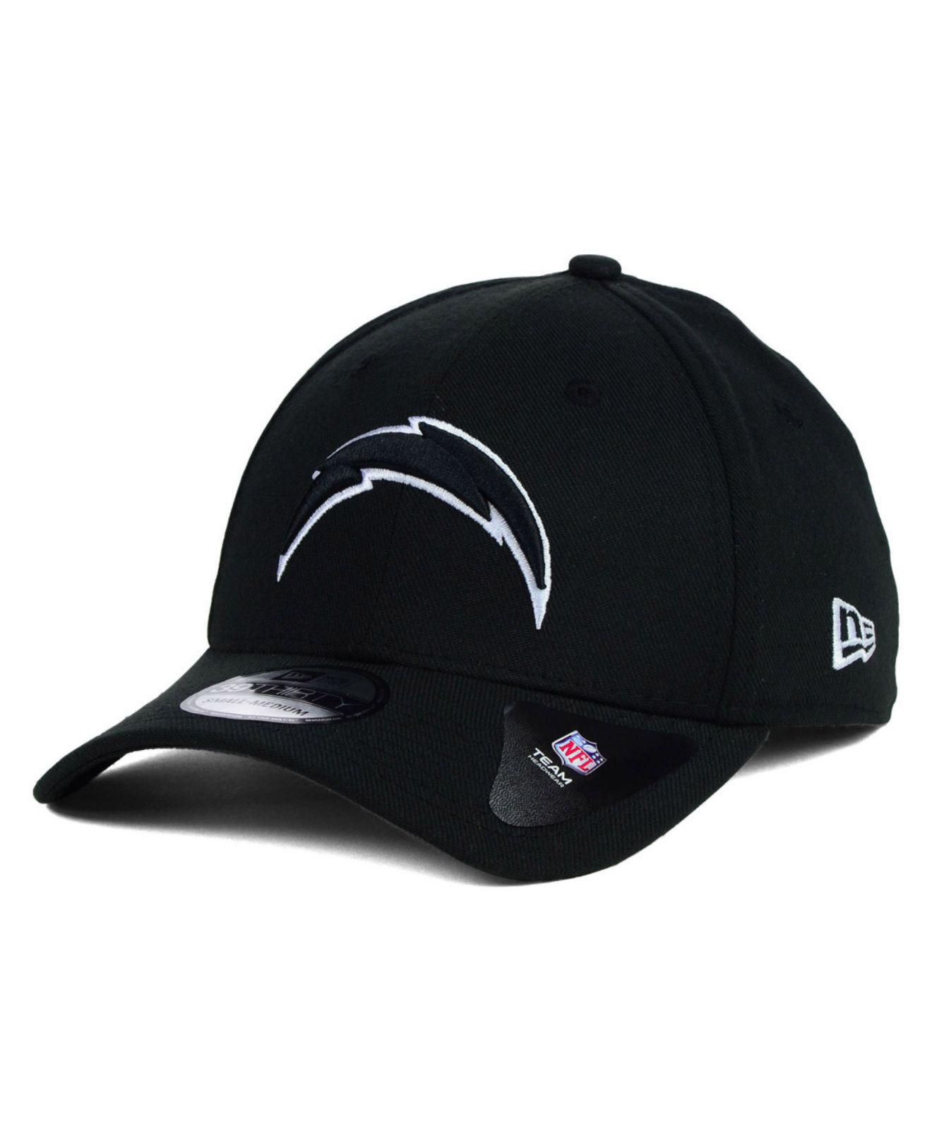 8d2dd0faa3b751 KTZ San Diego Chargers Black and White Classic 39thirty Cap in Black ...