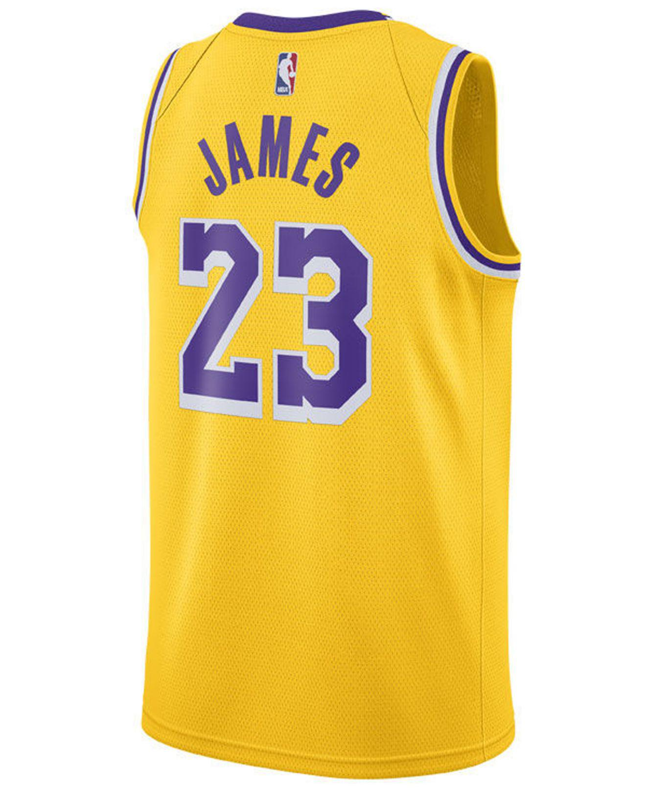 495cdcb77 Lyst - Nike Lebron James Icon Edition Swingman (los Angeles Lakers) Nba  Connected Jersey in Yellow for Men