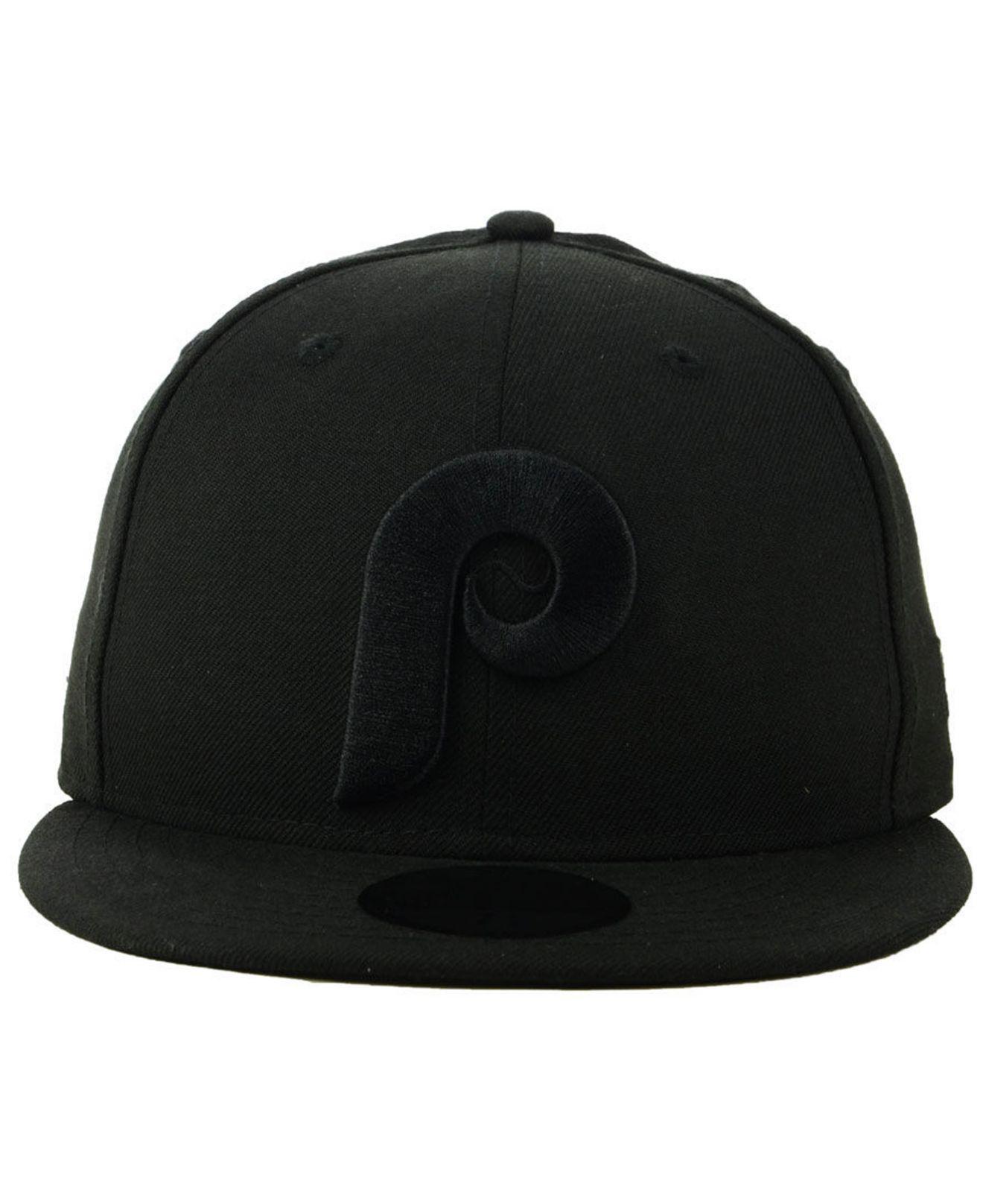 90ea967699427 ... germany lyst ktz philadelphia phillies blackout 59fifty fitted cap in  black for men 3ece1 b339d