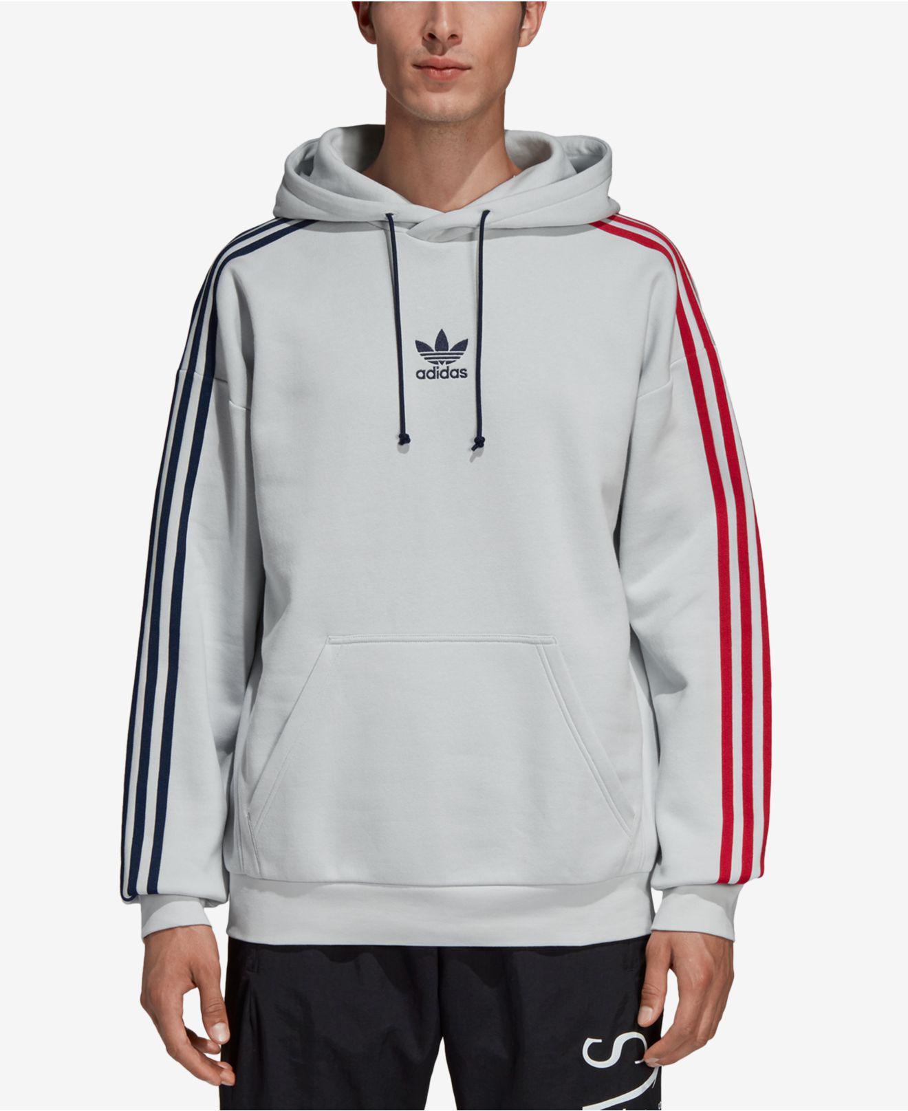 c6b44d80ac53 Adidas - Gray Originals Fleece Three-stripe Hoodie for Men - Lyst. View  fullscreen