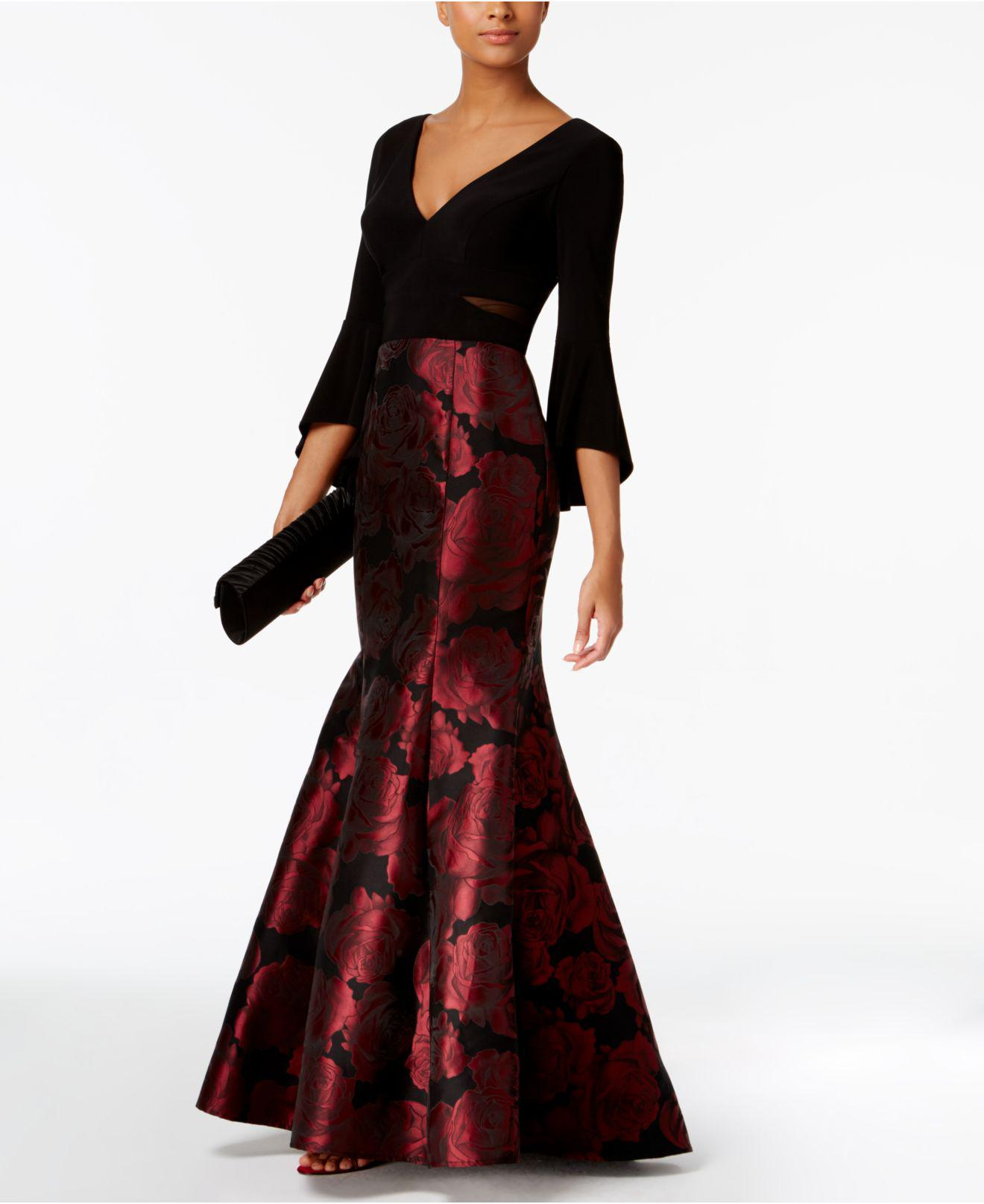 b5f551fa Xscape Bell-sleeve Brocade Mermaid Gown in Red - Lyst