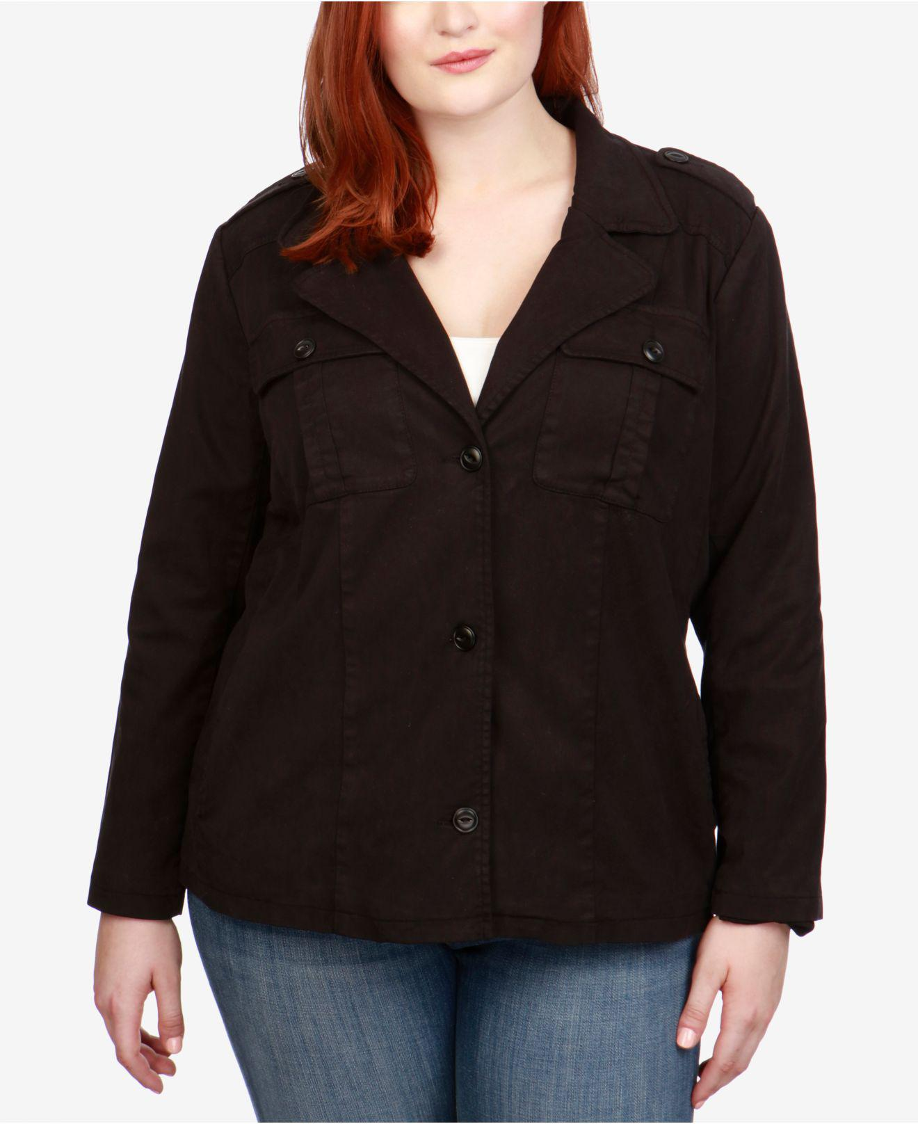 0a3016bdfbcdf Lyst - Lucky Brand Trendy Plus Size Cropped Utility Jacket in Black